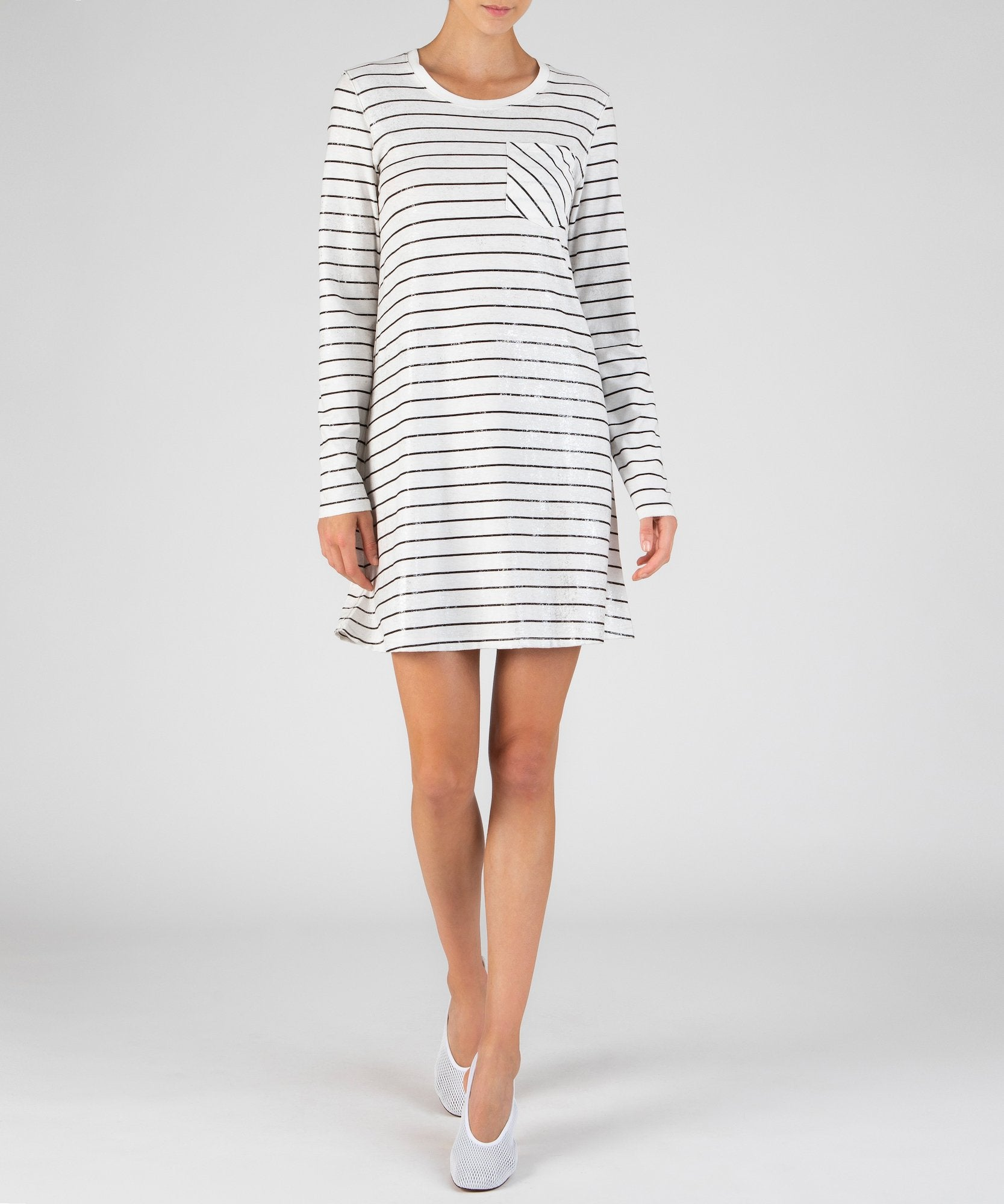 Chalk and Black Striped Sparkled Long Sleeve Dress - Women's Casual Dress by ATM Anthony Thomas Melillo
