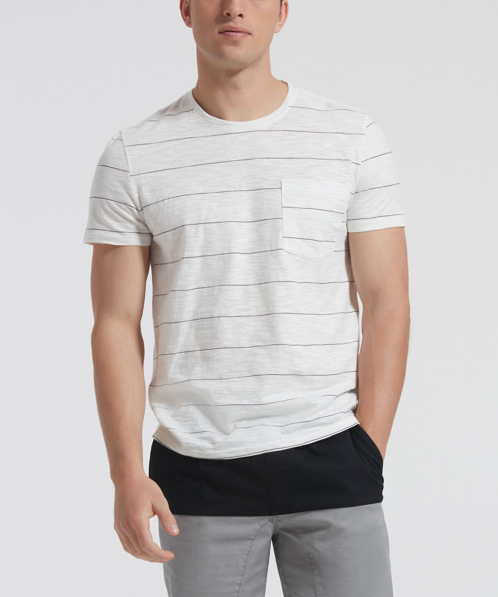 Chalk and Black Wide Striped Jersey Short Sleeve Pocket Tee - Men's Short Sleeve T-shirt by ATM Anthony Thomas Melillo