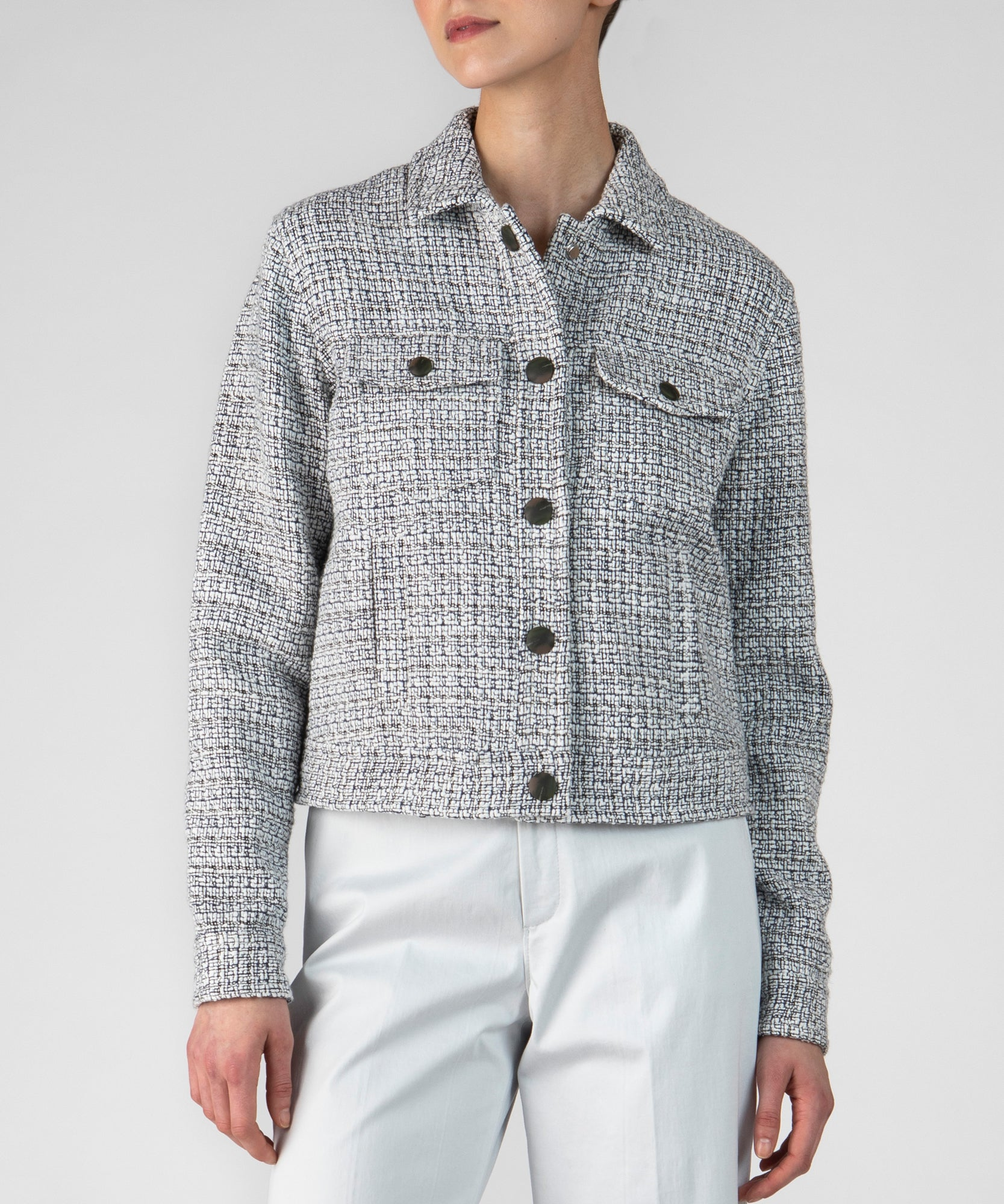 Chalk Combo Tweed Cropped Jean Jacket - Women's Casual Jacket by ATM Anthony Thomas Melillo