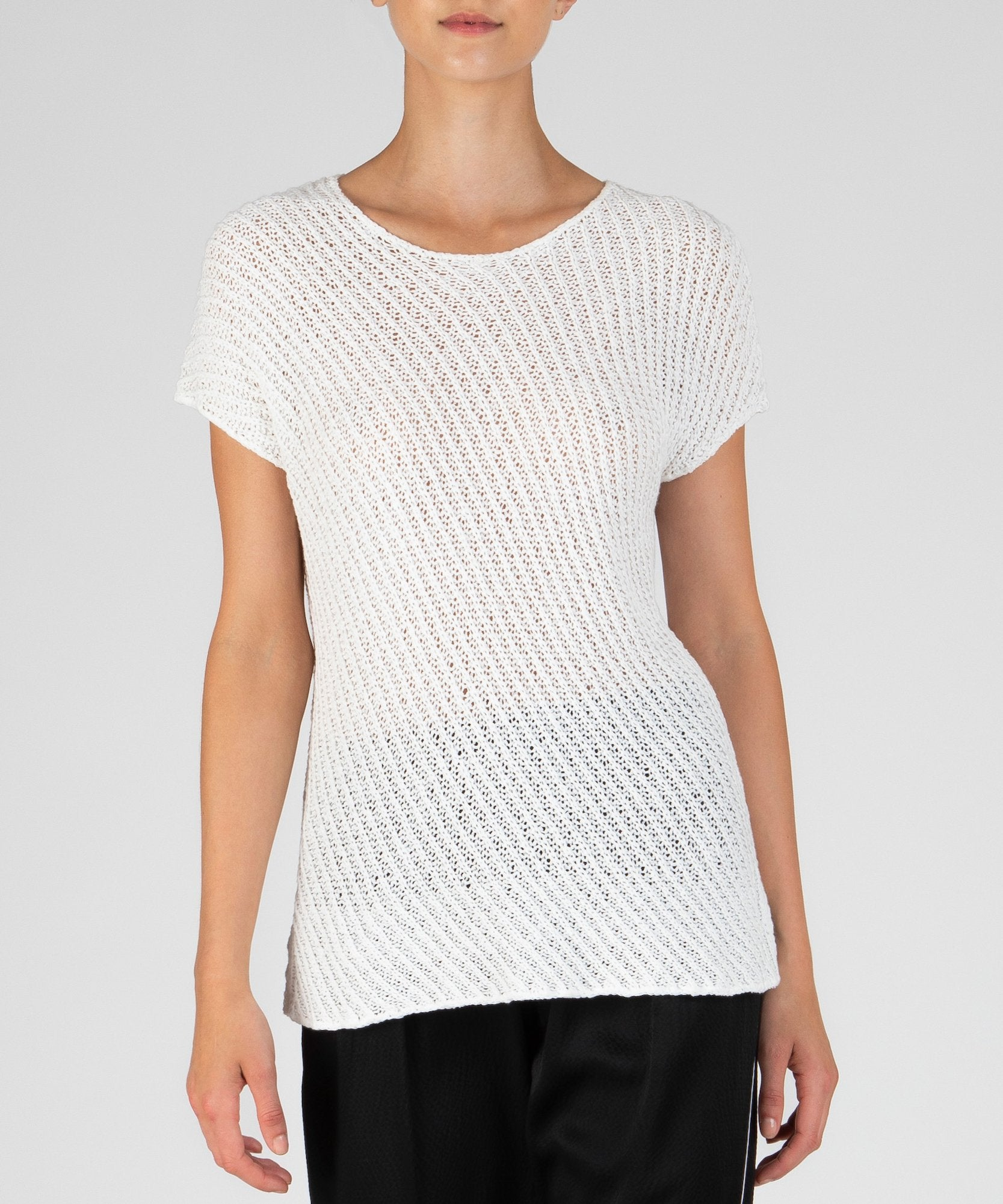 Chalk Diagonal Stitch Pullover Sweater - Women's Luxe Sweater by ATM Anthony Thomas Melillo