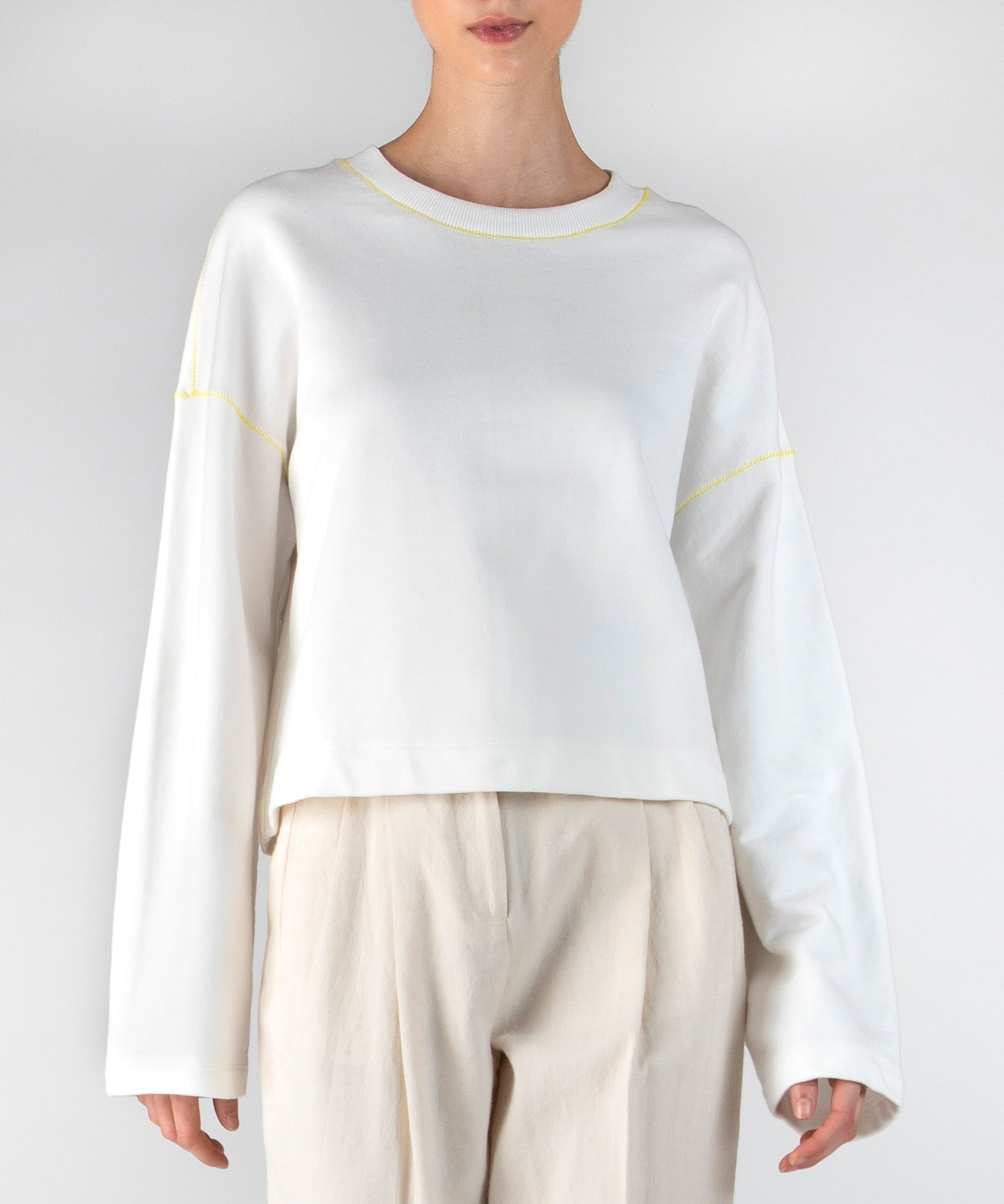 Chalk French Terry Zig Zag Detail Sweatshirt - Women's Luxe Cotton Loungewear by ATM Anthony Thomas Melillo