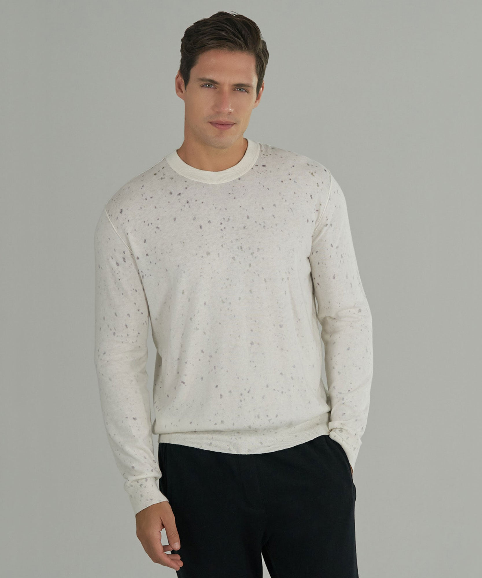 Chalk/ Grape Cotton Cashmere Splatter Print Sweater - Men's Sweater by ATM Anthony Thomas Melillo