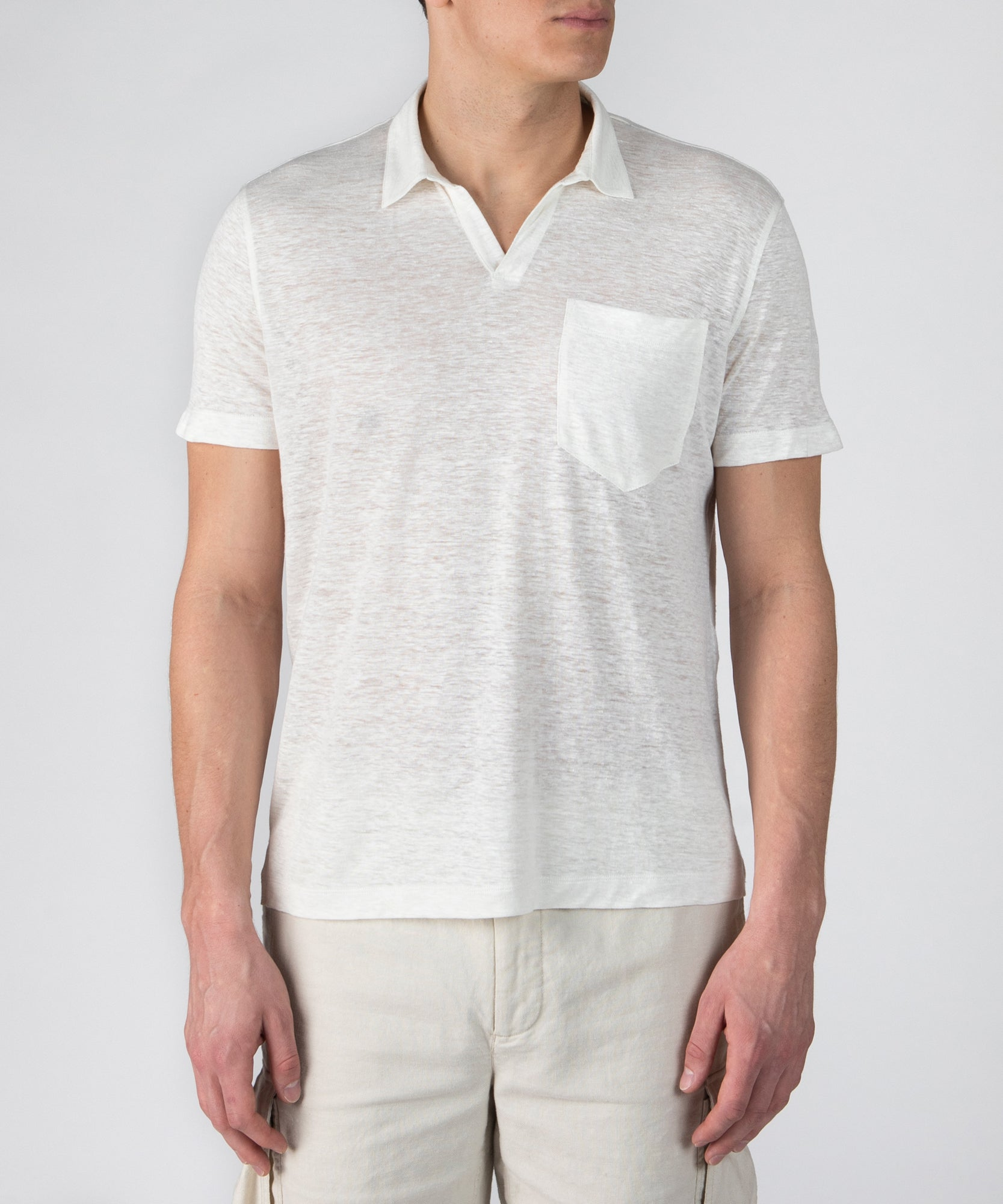 Chalk Linen Jersey Short Sleeve Polo- Men's Polo Shirt by ATM Anthony Thomas Melillo