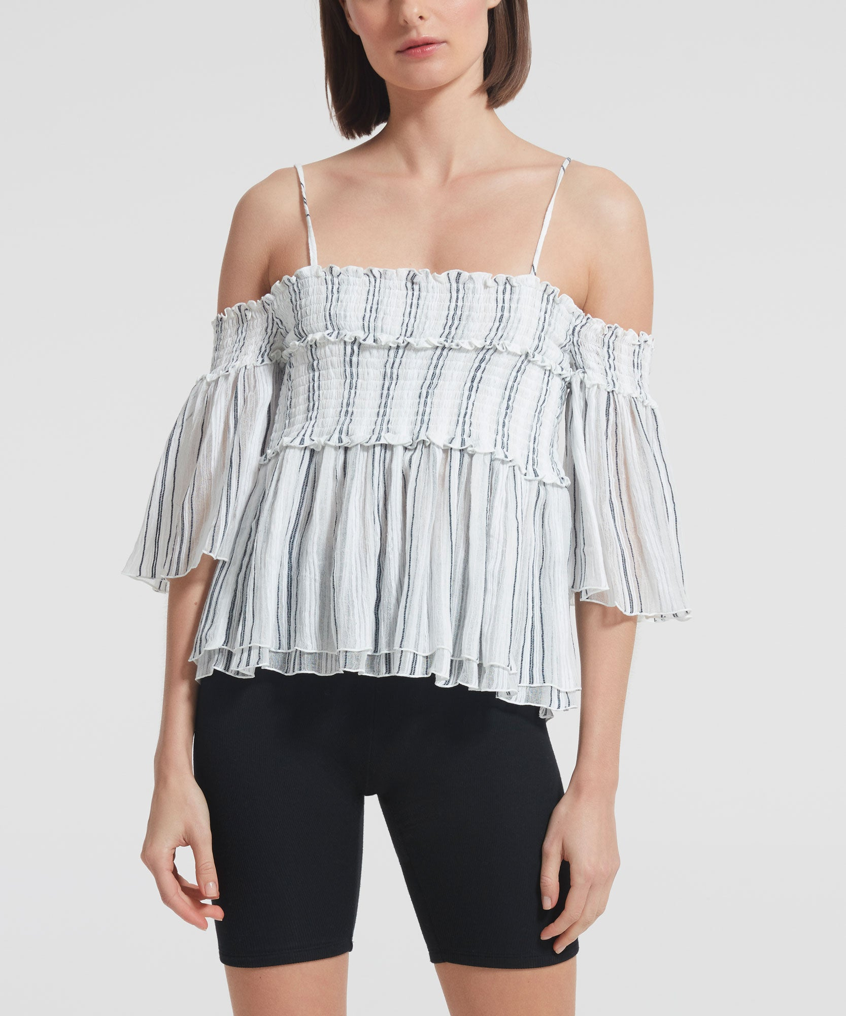 Chalk and Midnight Stripe Cotton Gauze Ruched Tank Top - Women's Off-the-shoulder Tank Top by ATM Anthony Thomas Melillo
