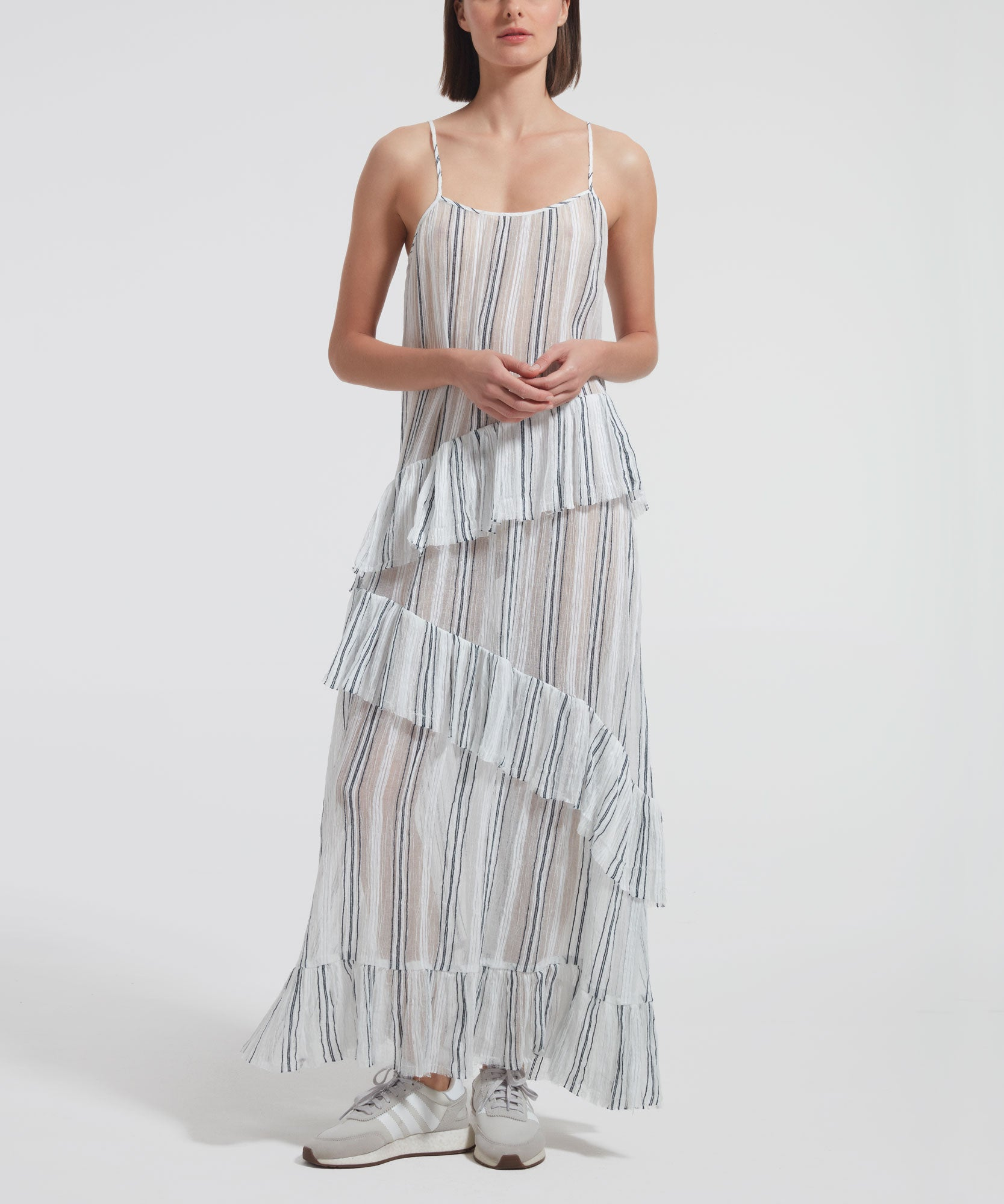Chalk and Midnight Stripe Gauze Ruffle Slip Dress - Women's Sleeveless Dress by ATM Anthony Thomas Melillo