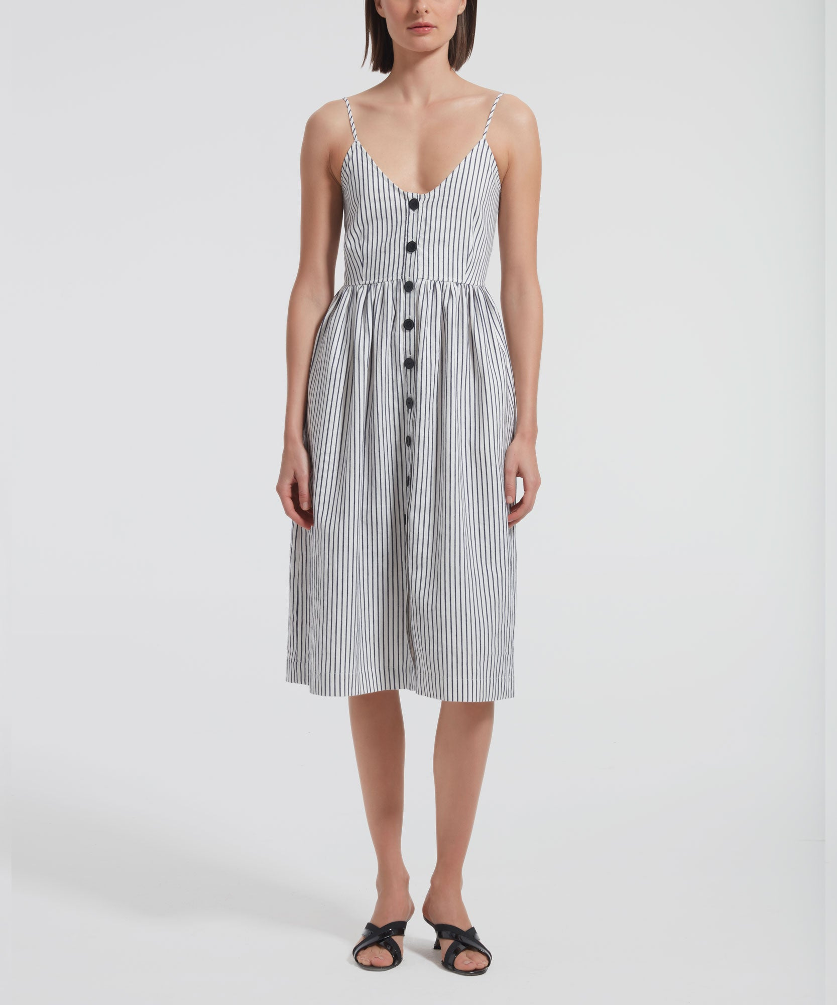 Chalk and Navy Striped Linen Cotton Button Front Tank Dress - Women's Sleeveless Dress by ATM Anthony Thomas Melillo