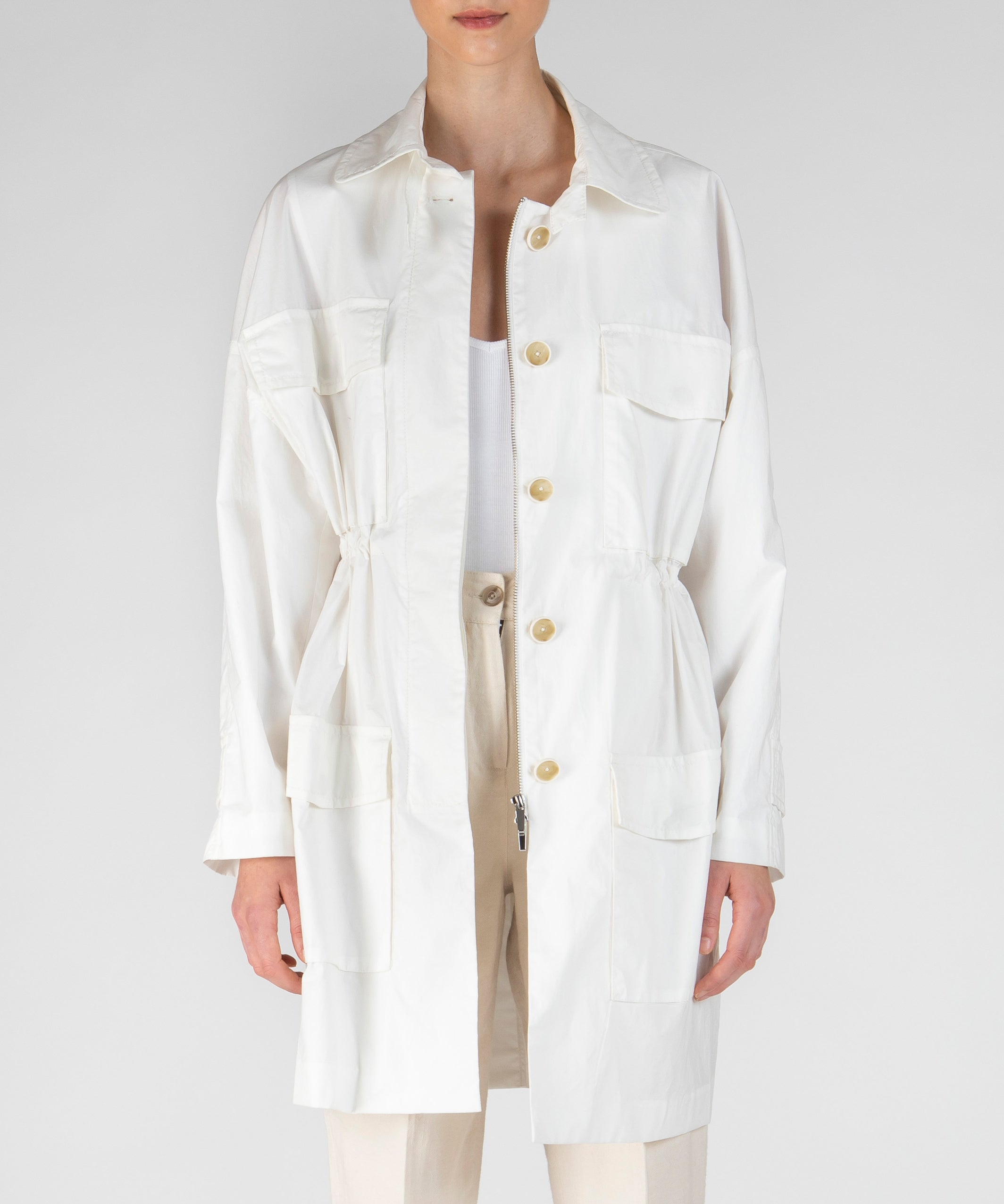 Chalk Paper Cotton Coat - Women's Casual Jacket by ATM Anthony Thomas Melillo