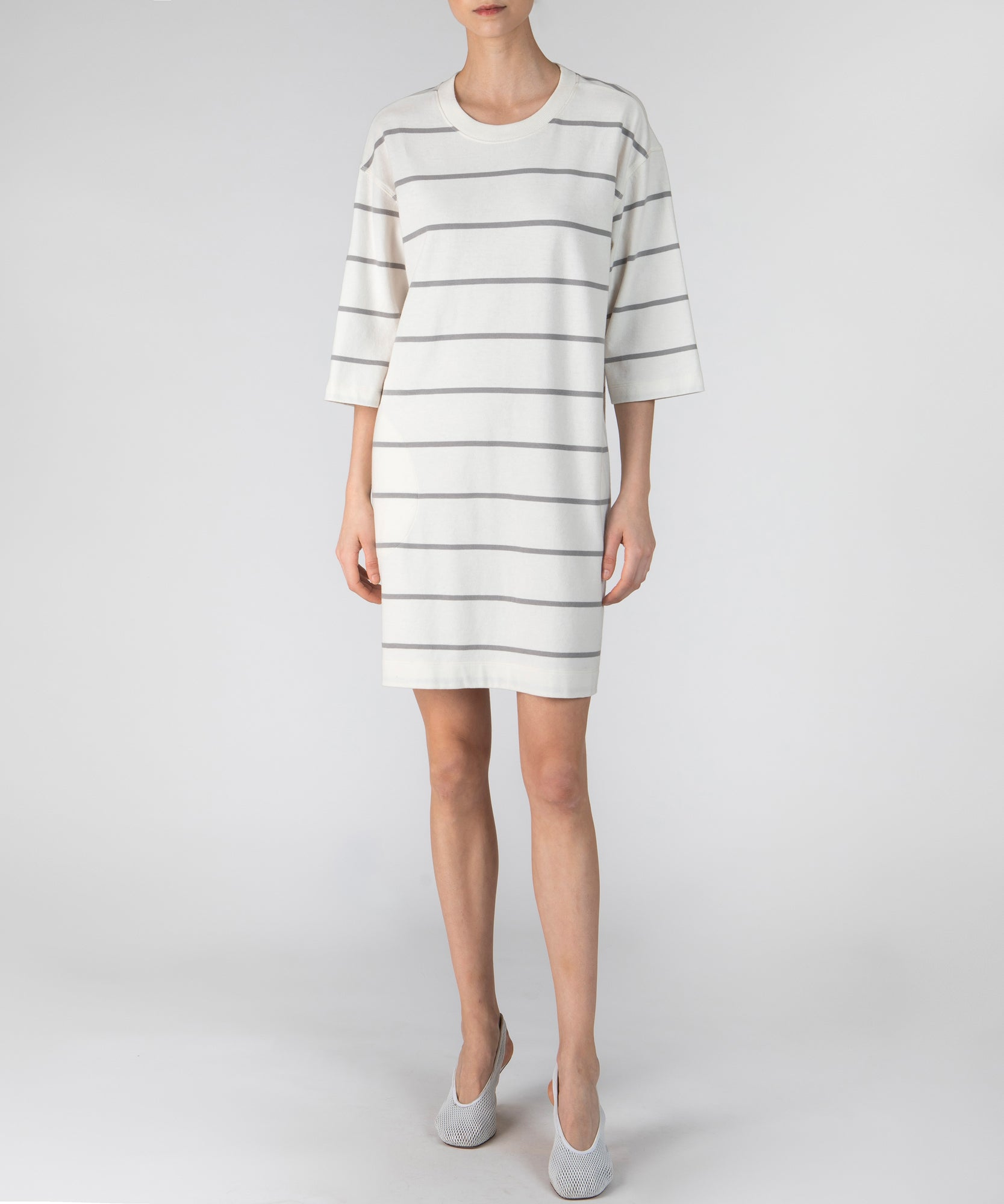Chalk and Smoke Striped Plaited Jersey Dress - Women's Casual Dress by ATM Anthony Thomas Melillo