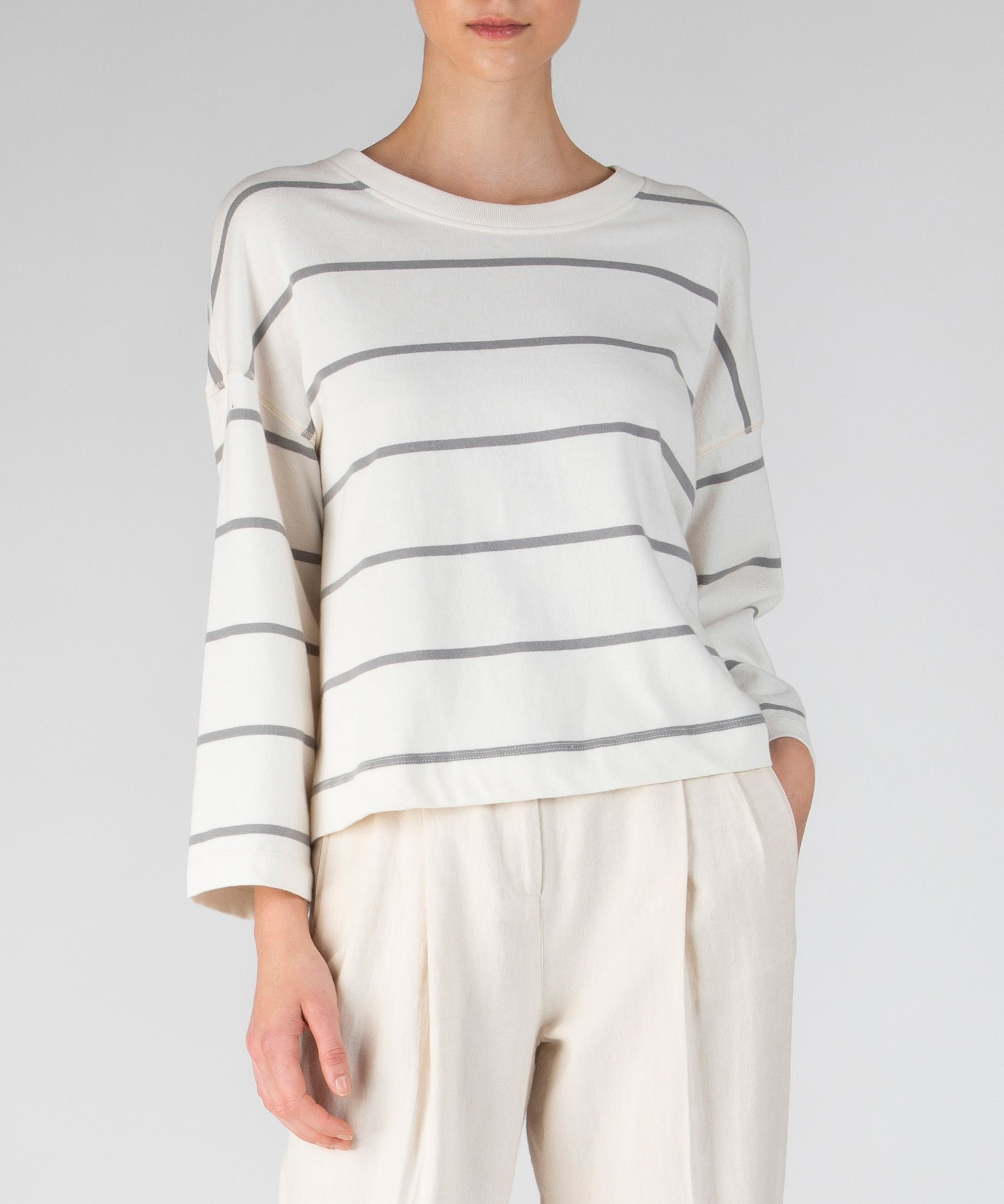 Chalk and Smoke Stripe Plaited Jersey Sweatshirt - Women's Luxe Cotton Loungewear by ATM Anthony Thomas Melillo