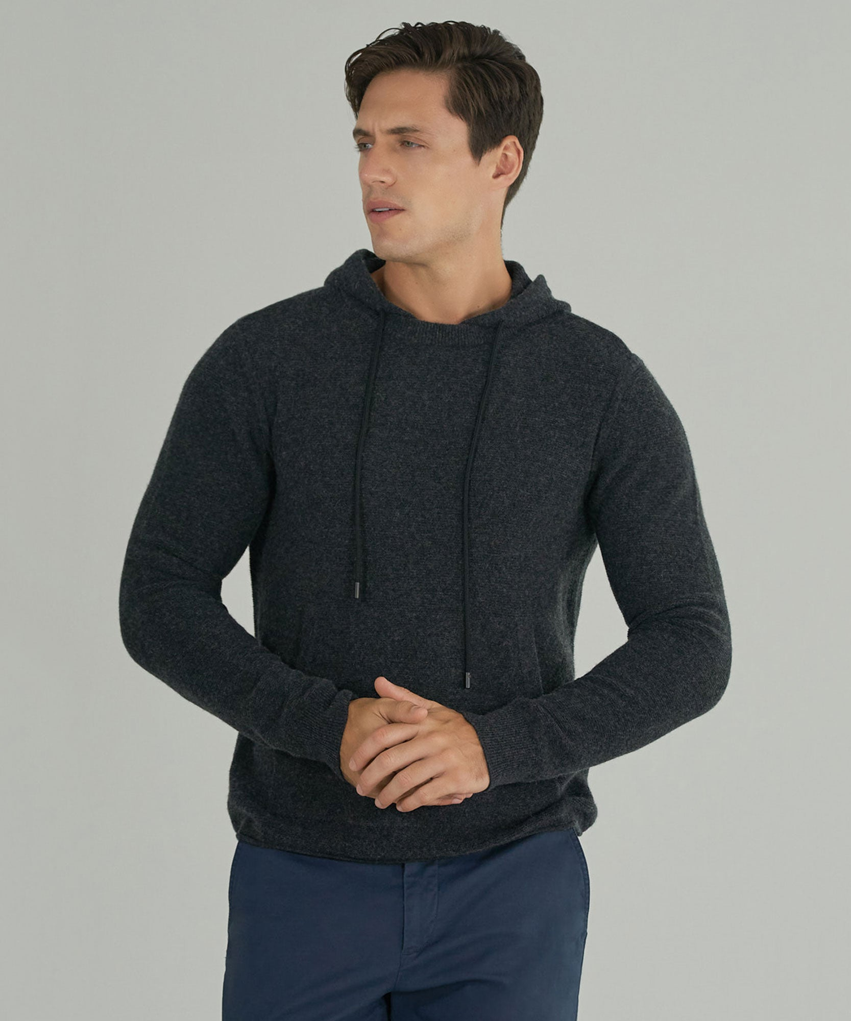 Charcoal Cashmere Blend Hoodie - Men's Sweater by ATM Anthony Thomas Melillo