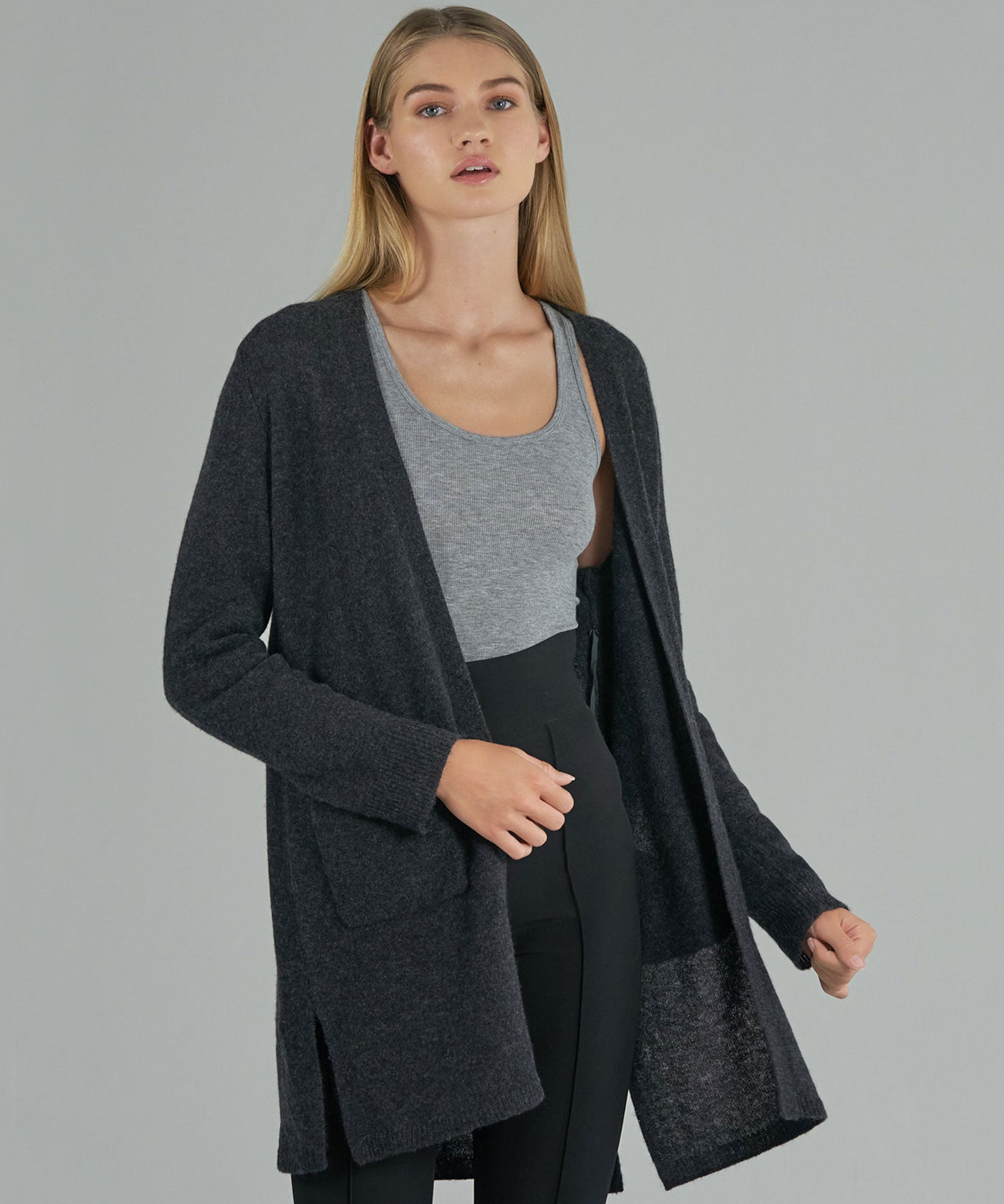 Charcoal Cashmere Cardigan - Women's Luxe Sweater by ATM Anthony Thomas Melillo
