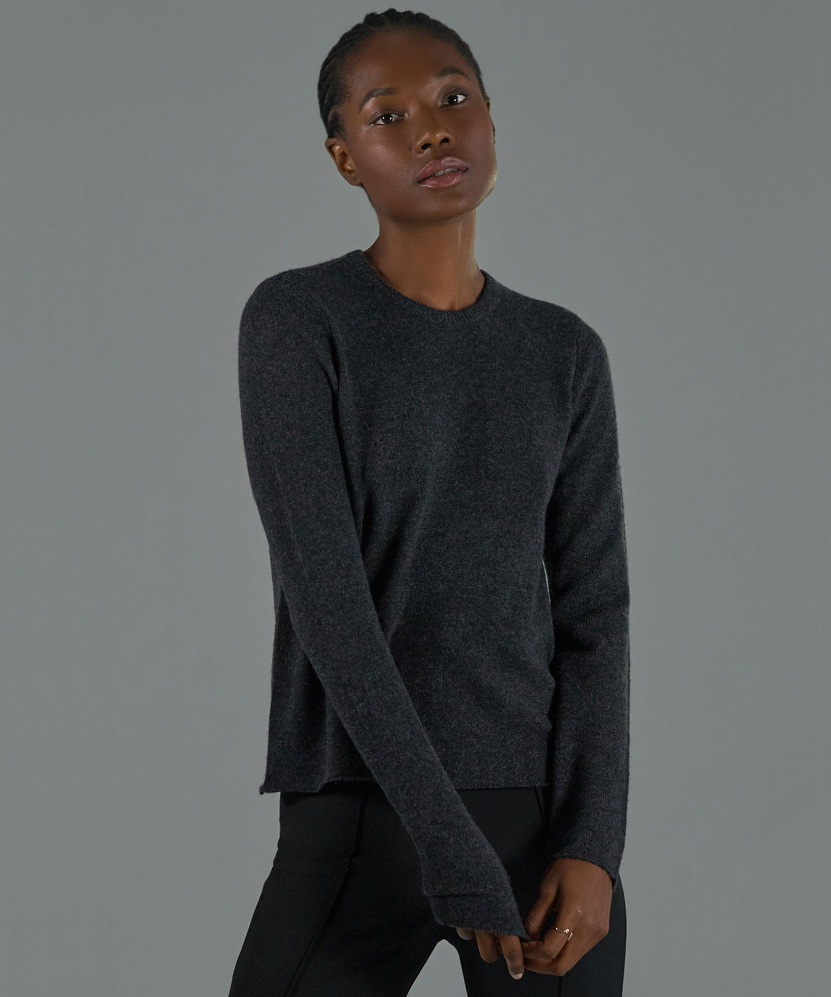 Charcoal Cashmere Crew Neck Sweater - Women's Luxe Sweater by ATM Anthony Thomas Melillo
