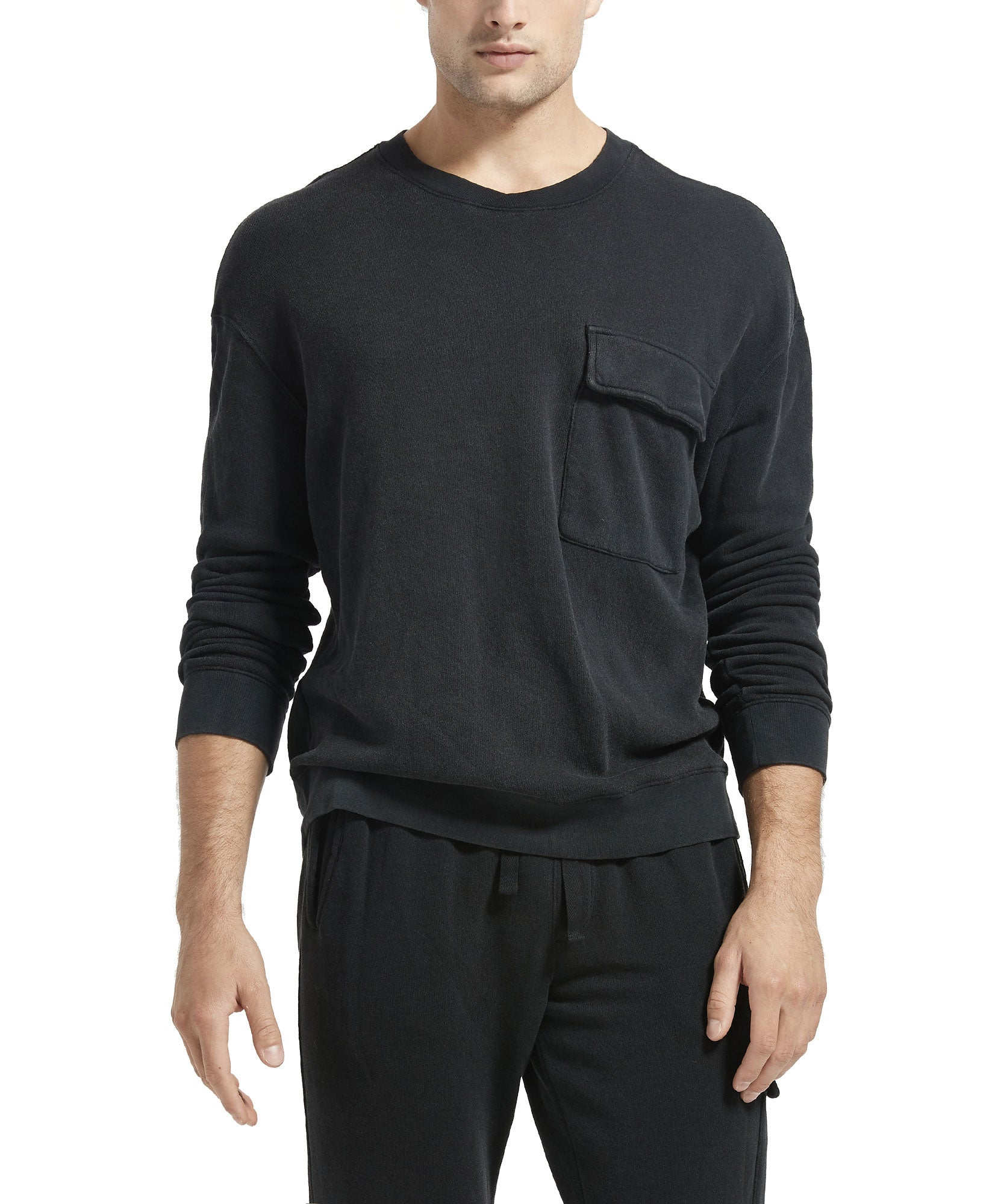 Charcoal French Terry Cargo Pocket Sweatshirt - Men's Luxe Loungewear by ATM Anthony Thomas Melillo