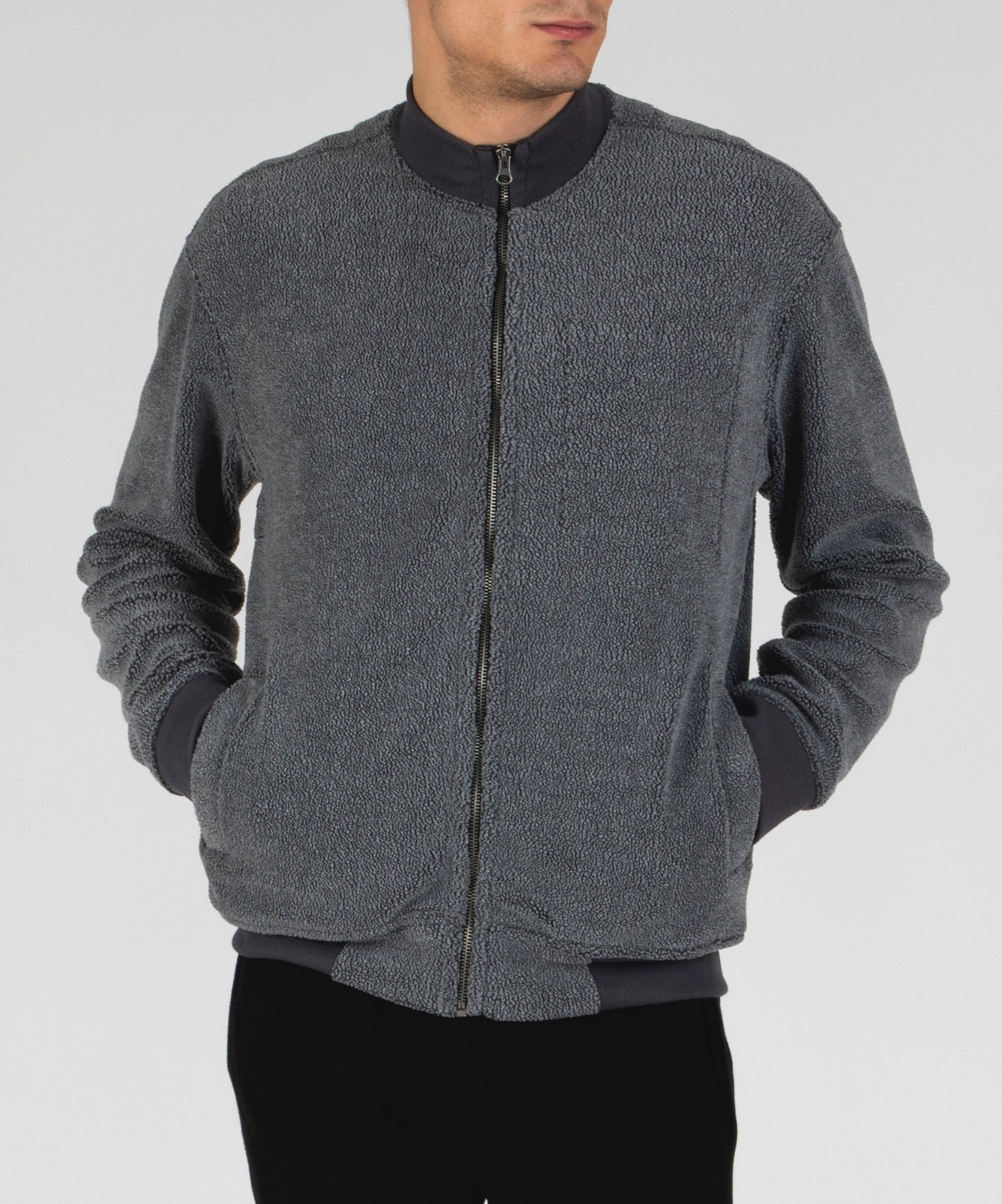 Charcoal French Terry Fleece Zip-Up Jacket - Men's Luxe Loungewear by ATM Anthony Thomas Melillo