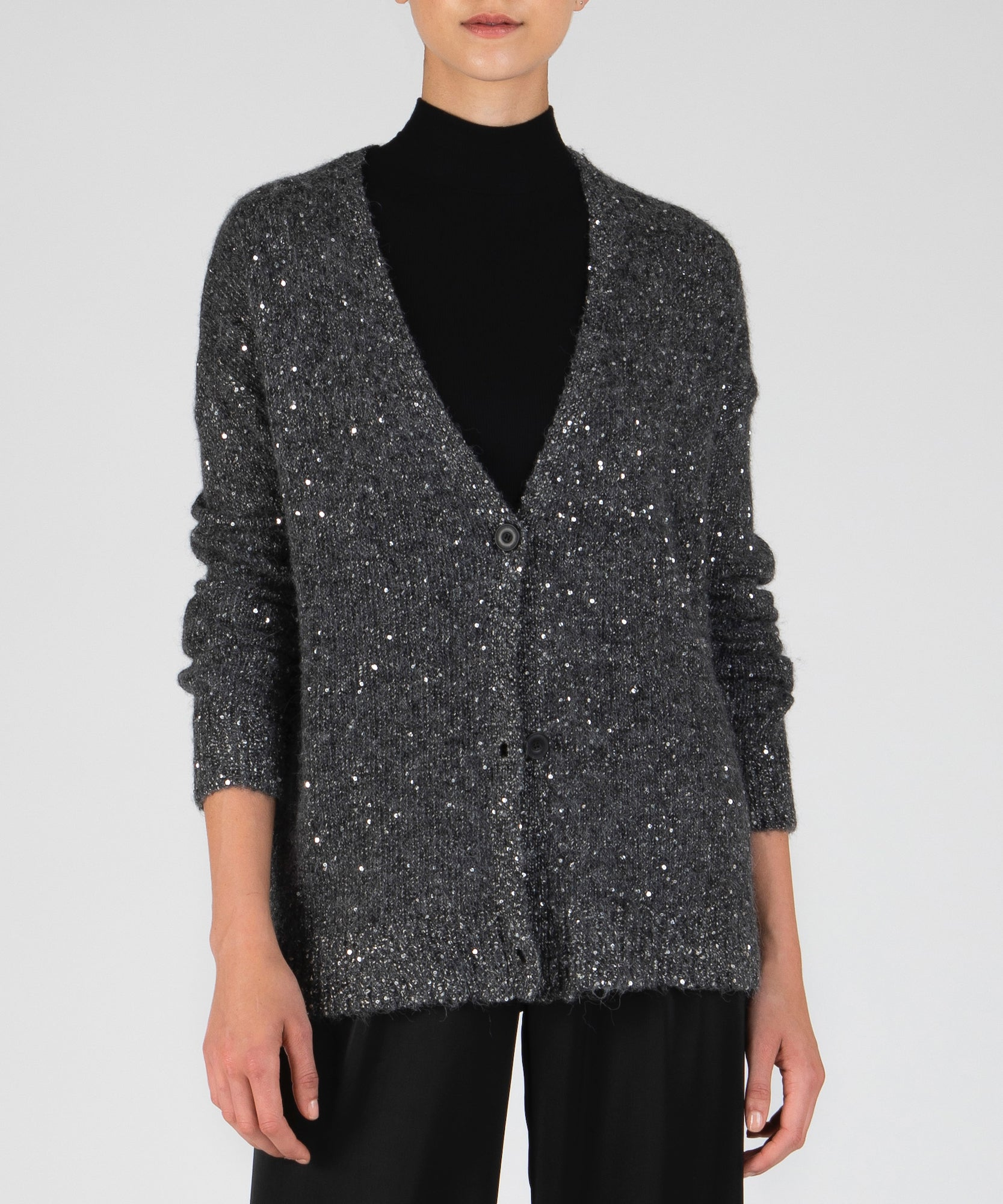 Charcoal and Silver Sequin V-Neck Cardigan - Women's Luxe Sweater by ATM Anthony Thomas Melillo