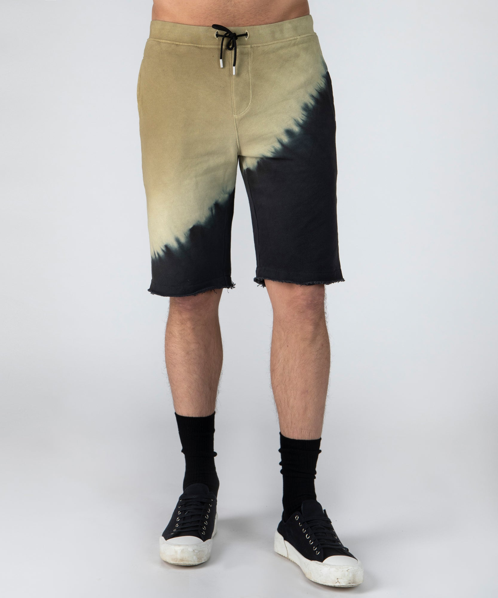 Chartreuse Black Combo French Terry Diagonal Dip Dye Shorts - Men's Luxe Shorts by ATM Anthony Thomas Melillo