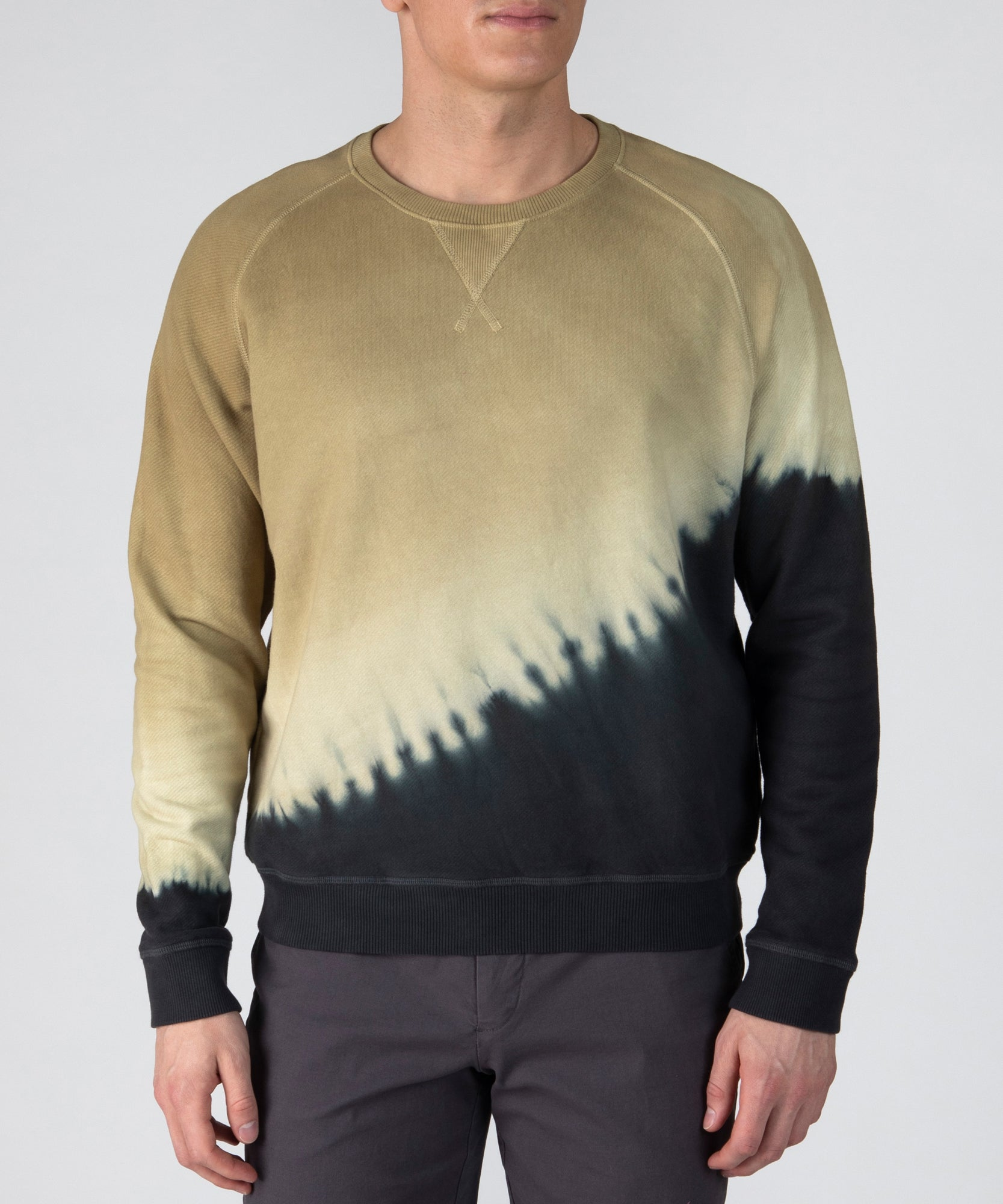 Chartreuse/ Black French Terry Diagonal Dip Dye Sweatshirt - Men's Luxe Loungewear by ATM Anthony Thomas Melillo