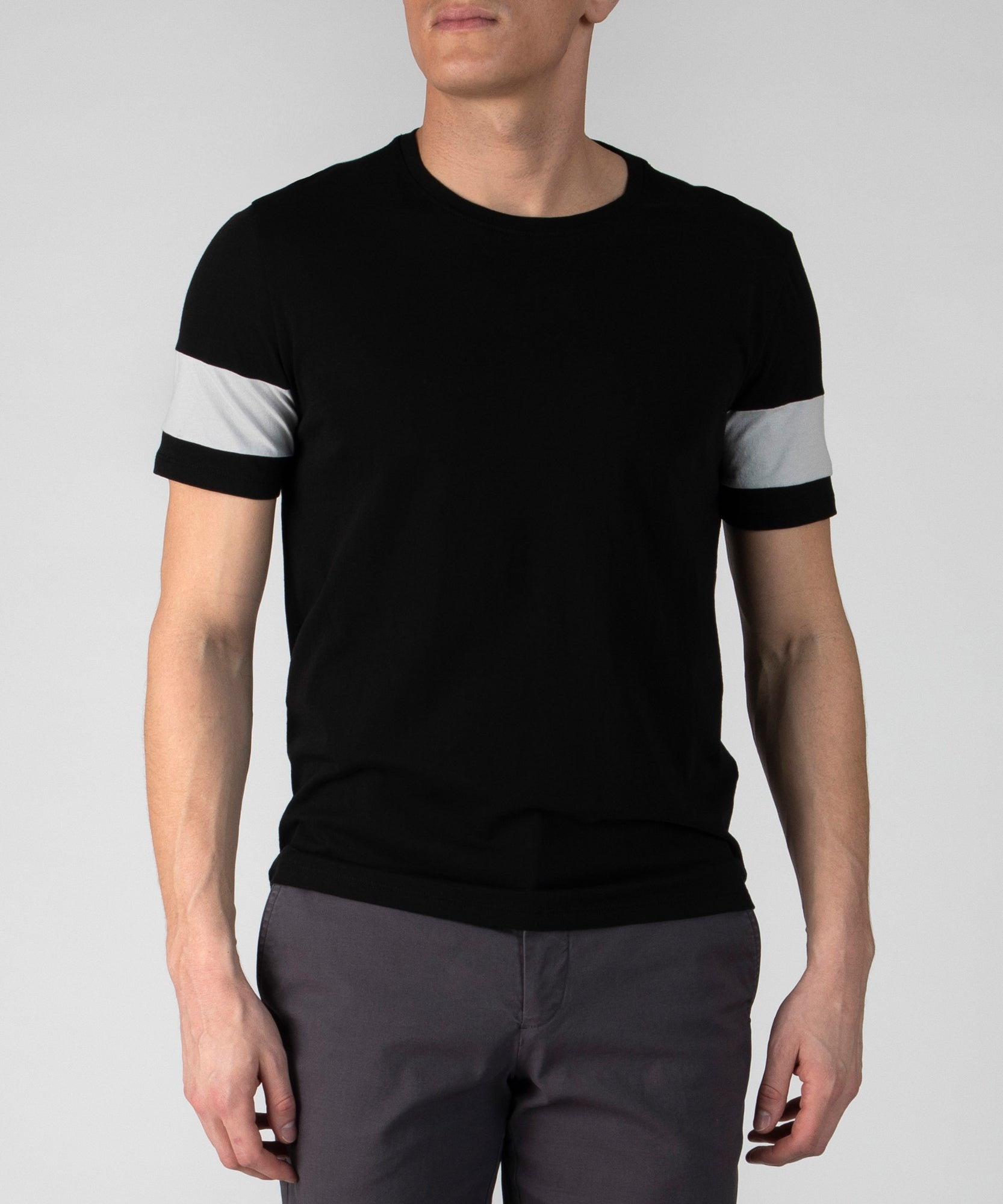 Black Combo Classic Jersey Colorblock Crew Neck Tee - Men's Cotton Short Sleeve T-shirt by ATM Anthony Thomas Melillo