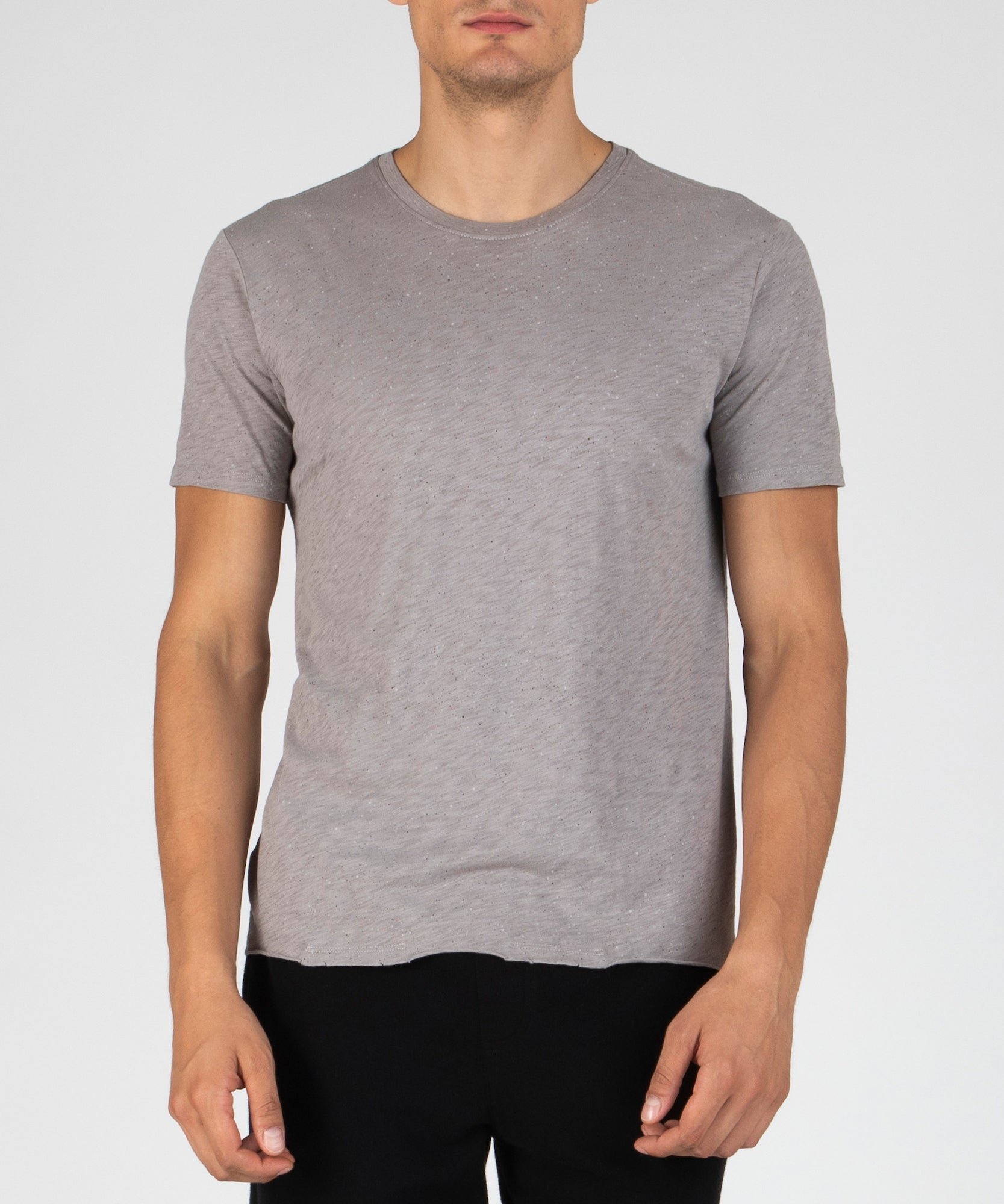 Concrete Sprayed Print Jersey Crew Neck Tee - Men's Luxe Tee by ATM Anthony Thomas Melillo