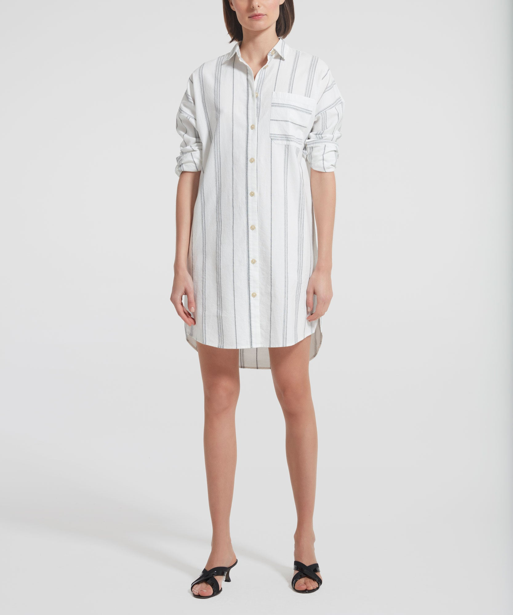 Cream Stripe Shirt Dress - Women's Casual Dress by ATM Anthony Thomas Melillo