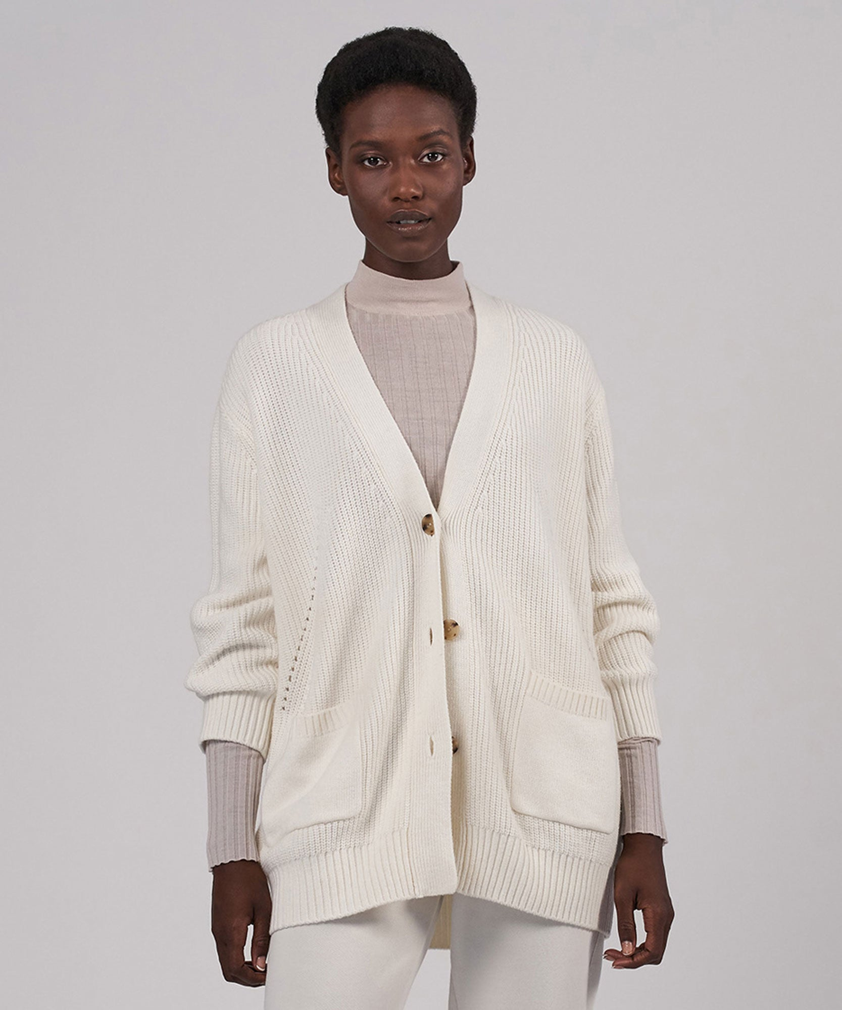 Cream Cashmere Blend Cardigan Coat - Women's Sweater by ATM Anthony Thomas Melillo