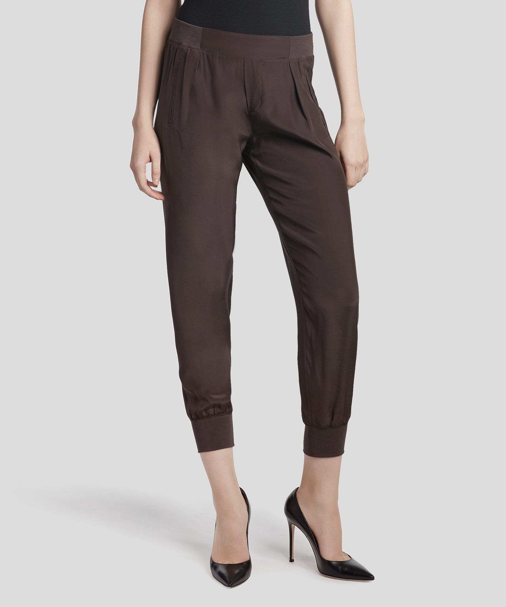 Dark Chocolate Silk Sweatpants - Women's Silk Pants ATM Anthony Thomas Melillo