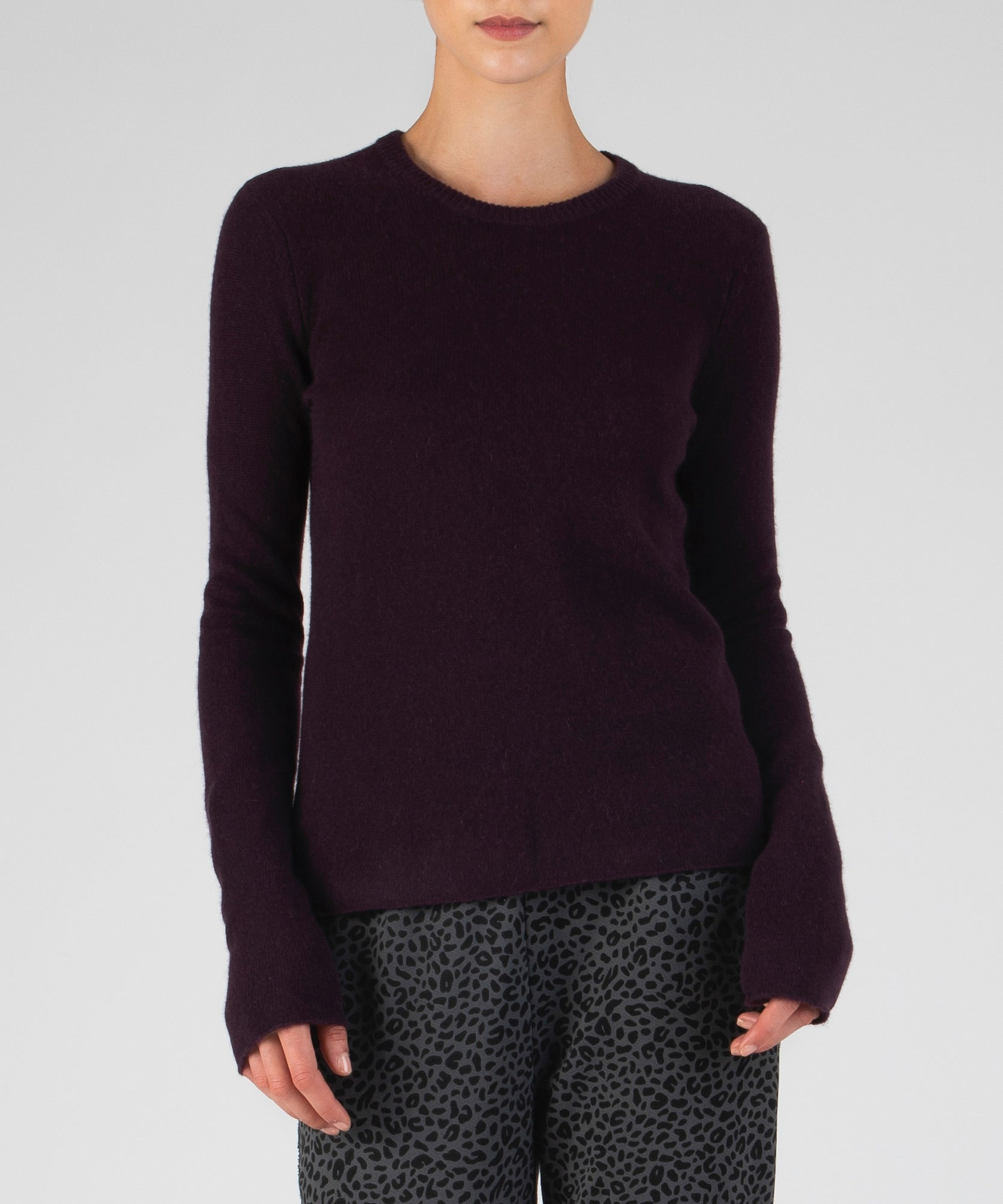 Dark Maroon Cashmere Crew Neck Sweater - Women's Luxe Sweater by ATM Anthony Thomas Melillo