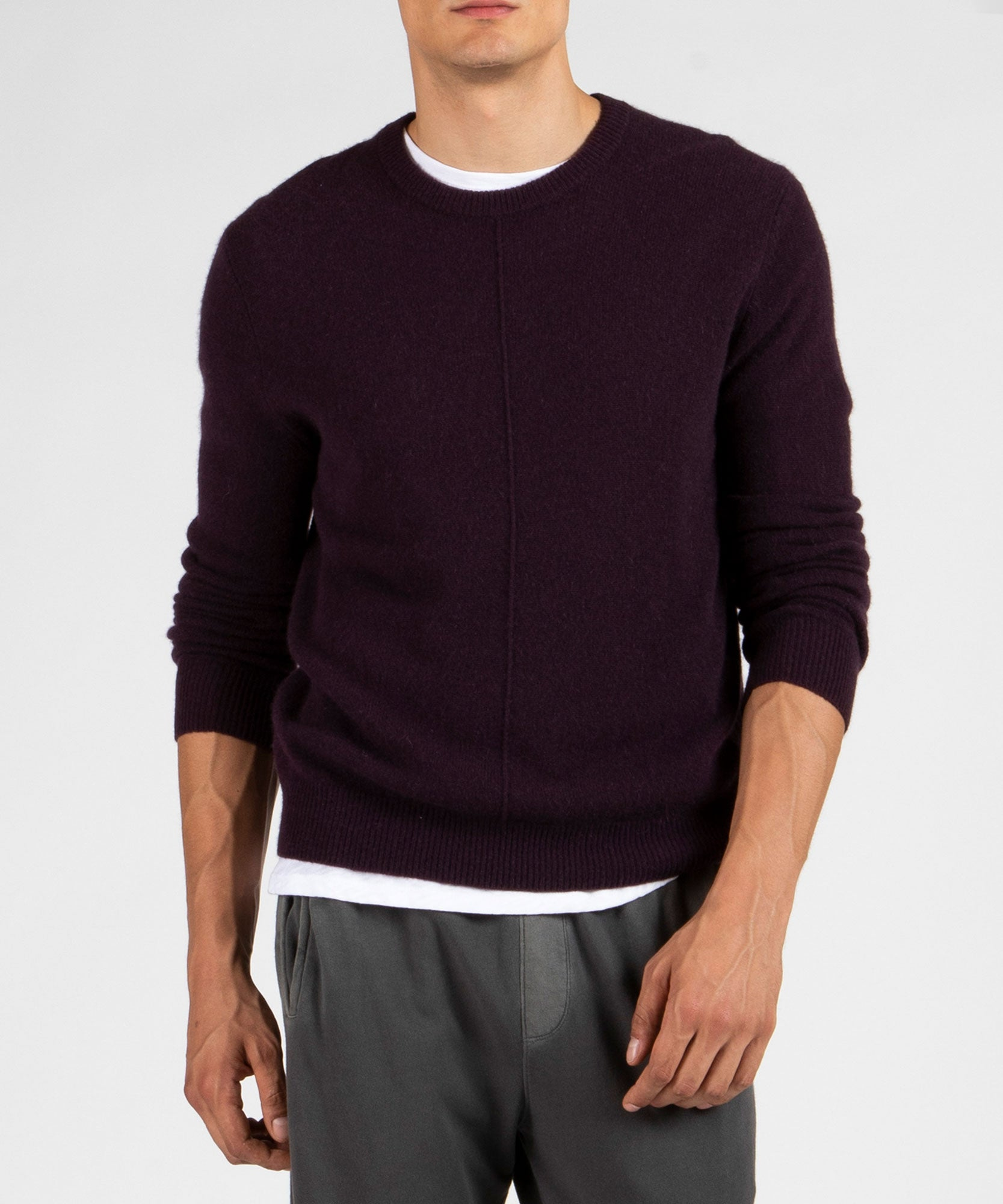 Dark Maroon Cashmere Exposed Seam Crew Neck Sweater - Men's Cashmere Sweater by ATM Anthony Thomas Melillo
