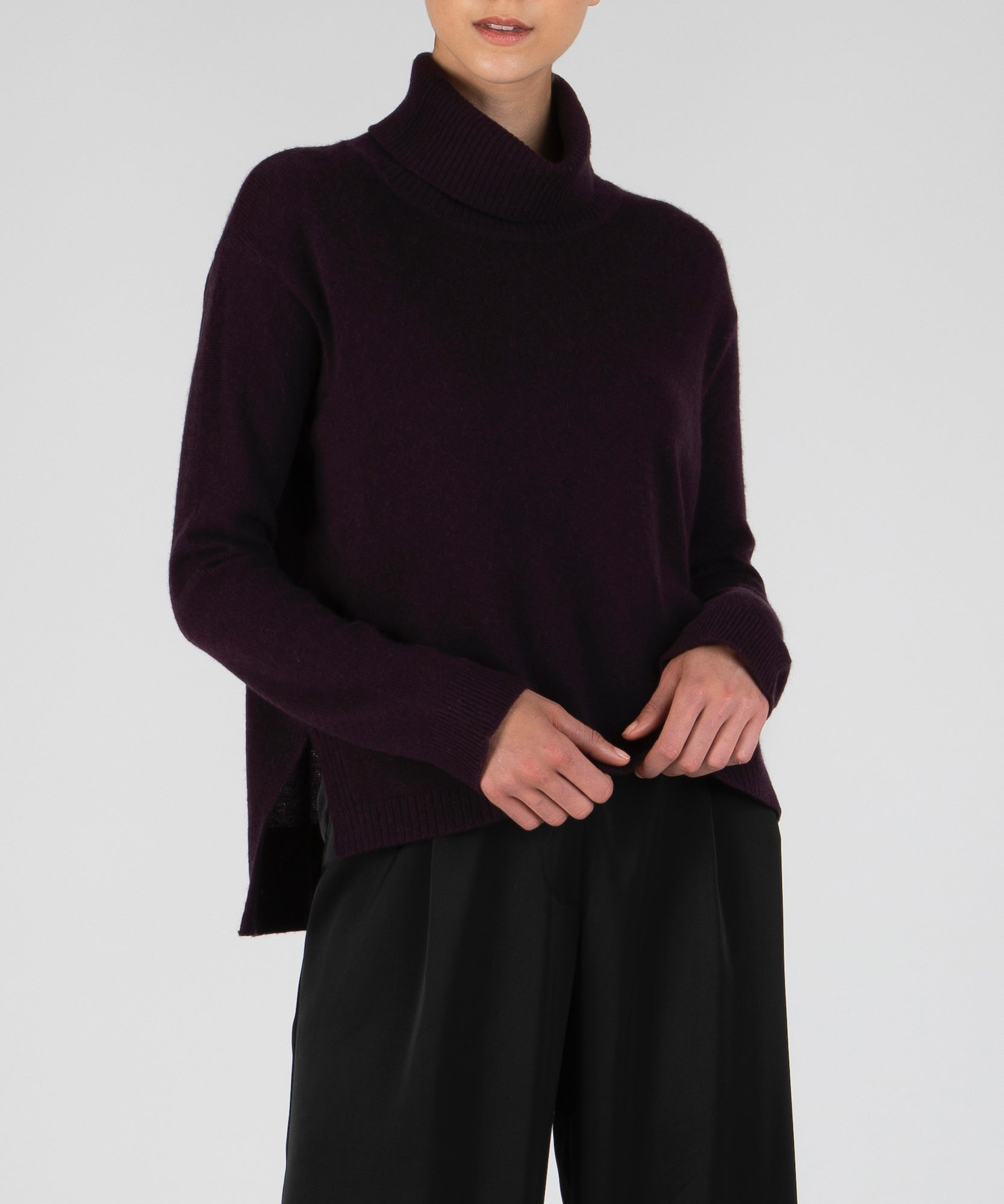 Dark Maroon Cashmere Wide Turtleneck Sweater - Women's Luxe Sweater by ATM Anthony Thomas Melillo
