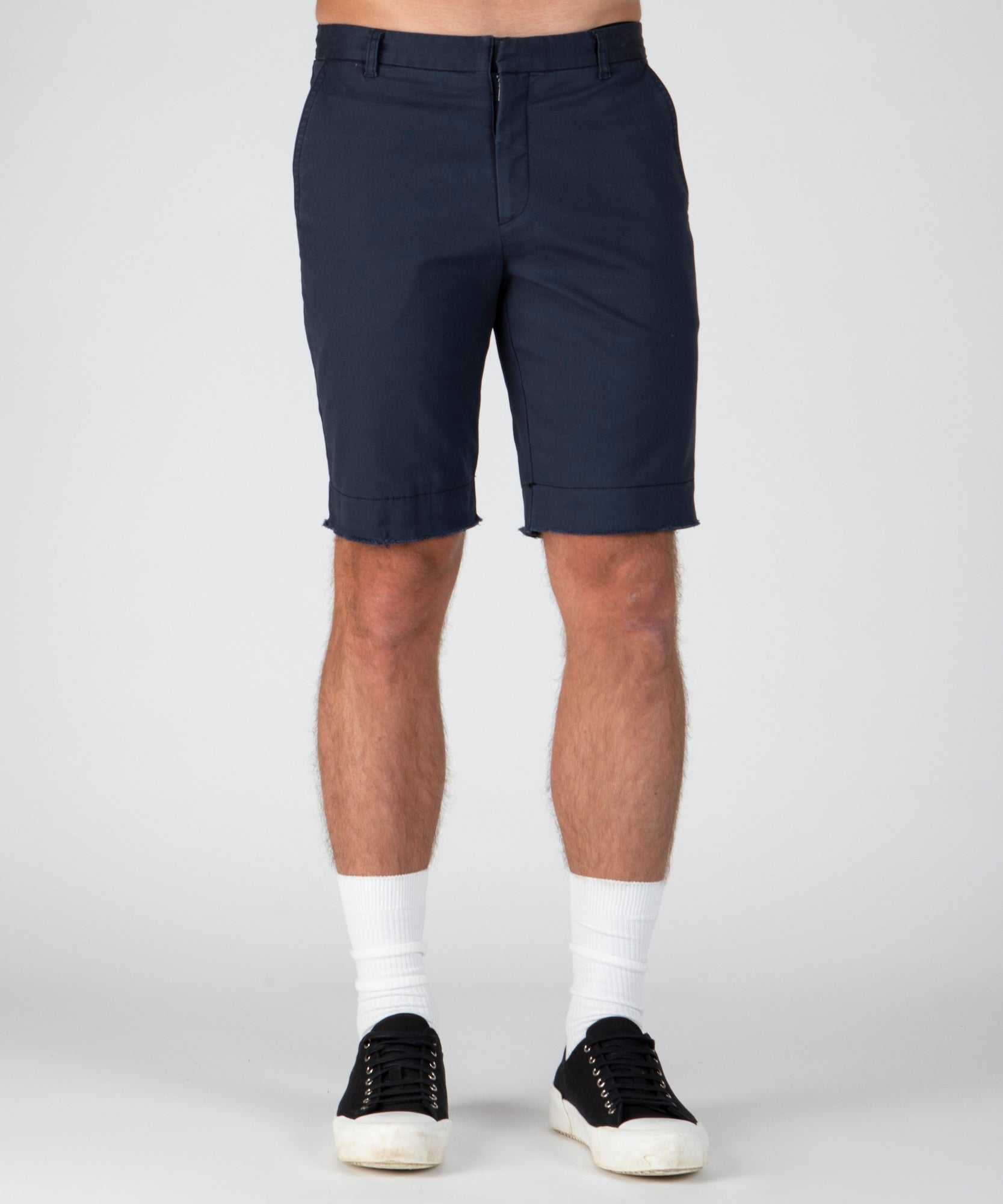 Dark Navy Stretch Cotton Garment Wash Shorts - Men's Luxe Shorts by ATM Anthony Thomas Melillo