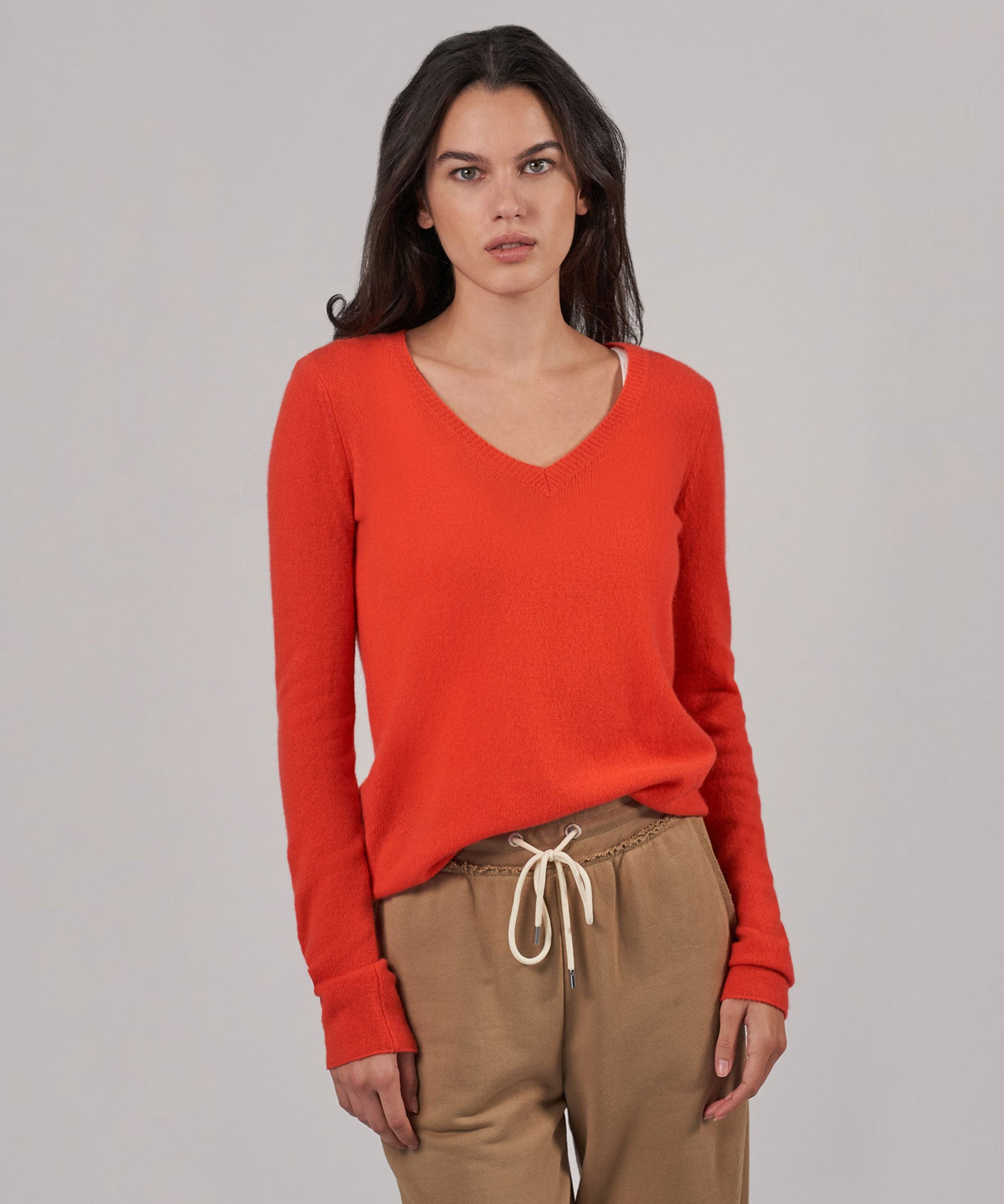 Deep Coral Cashmere V-Neck Sweater - Women's Luxe Sweater by ATM Anthony Thomas Melillo