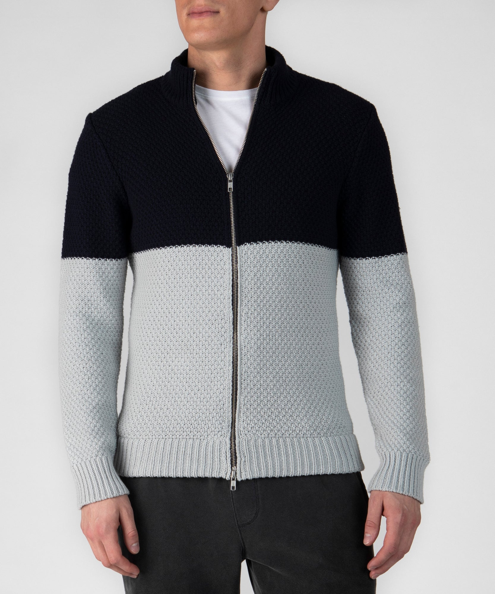 Deep Navy Combo Cotton Blend Zip-Up Cardigan - Men's Luxe Sweater by ATM Anthony Thomas Melillo