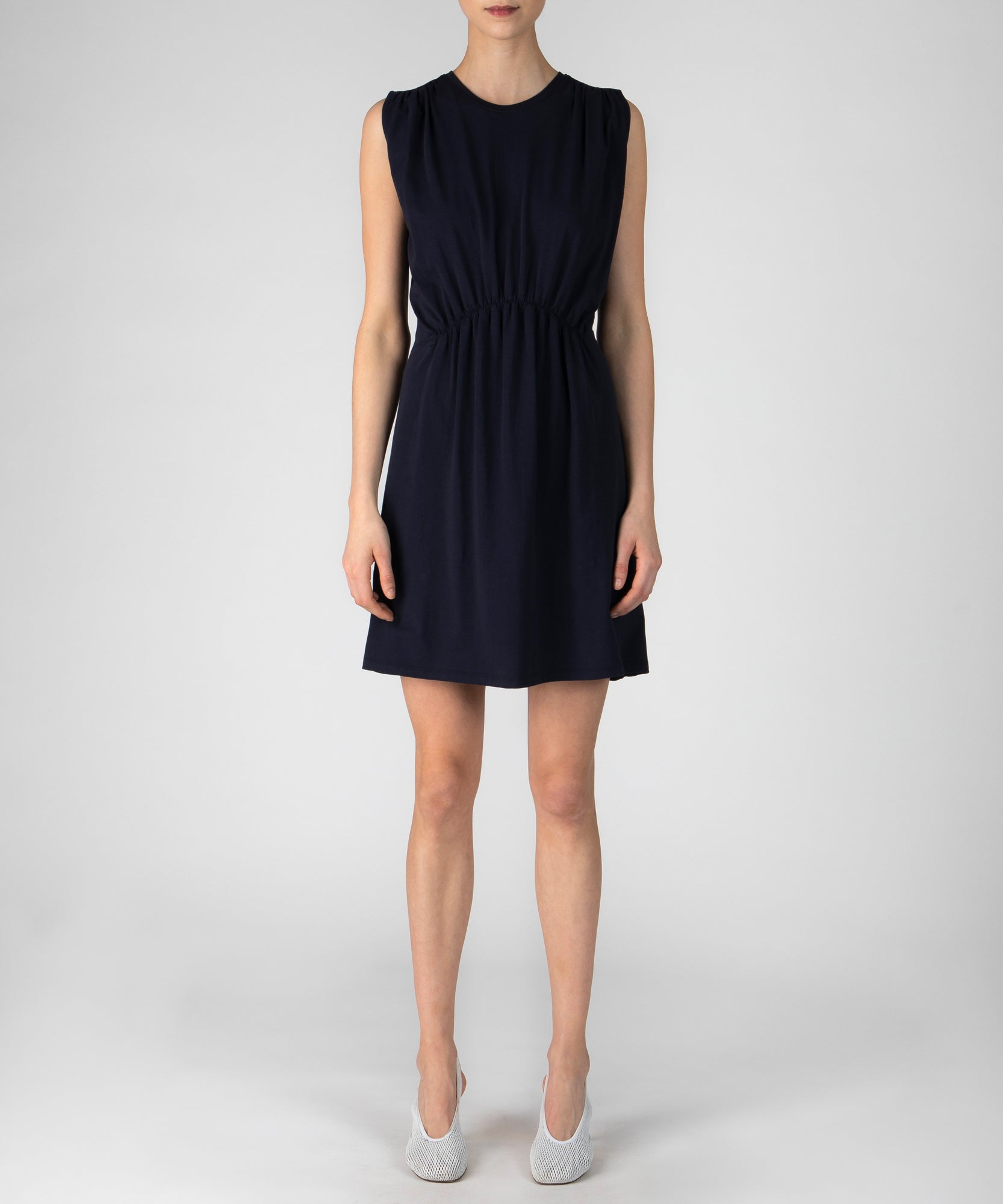 Deep NavyPima Cotton Sleeveless Tuck Detail Dress - Women's Casual Dress by ATM Anthony Thomas Melillo