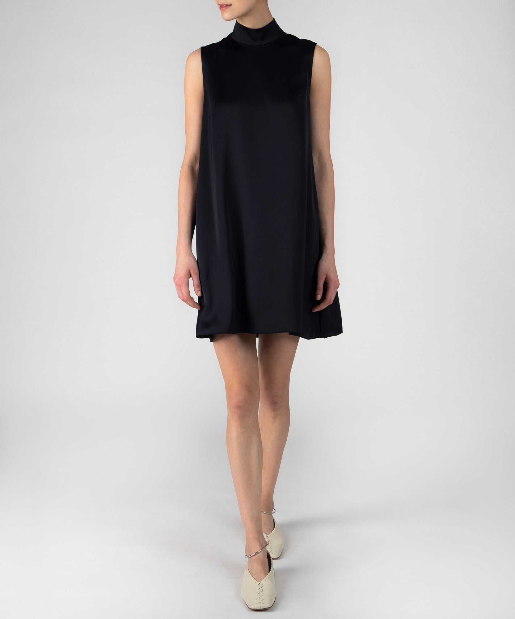 Deep Navy Sateen Mock Neck Dress - Women's Luxe Dress by ATM Anthony Thomas Melillo