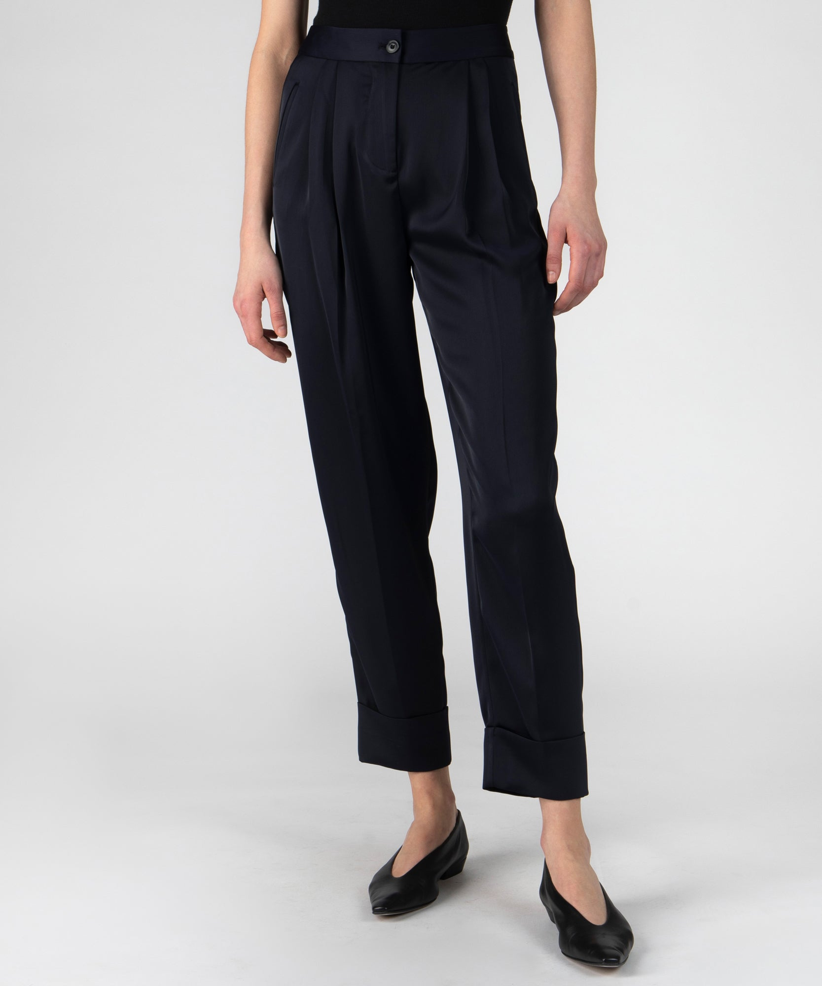 Deep Navy Sateen Tailored Pants - Women's Luxe Pants by ATM Anthony Thomas Melillo