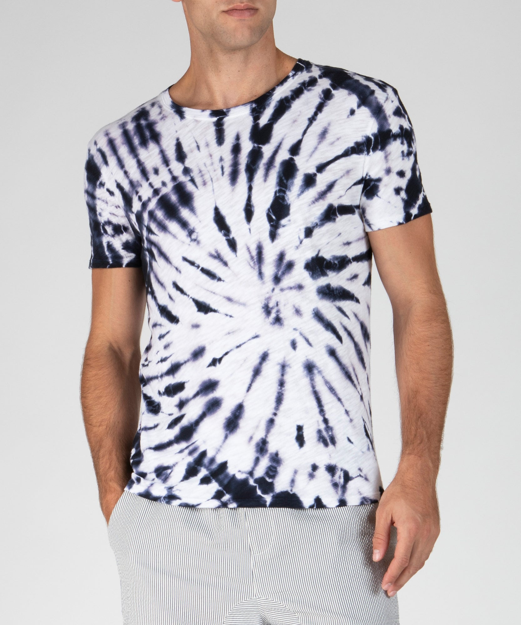 Dark Navy Tie Dye Slub Jersey Crew Neck Tee - Men's Cotton Short Sleeve Tee by ATM Anthony Thomas Melillo