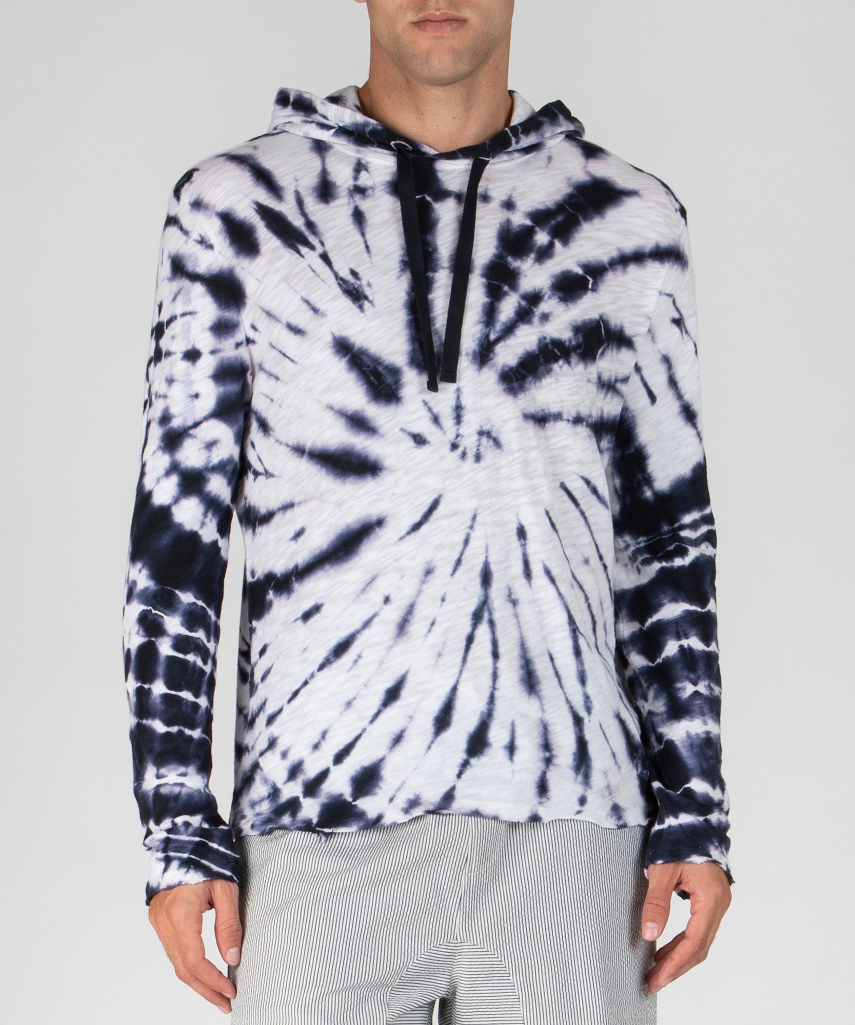 Dark Navy Tie Dye Slub Jersey Hoodie - Men's Cotton Long Sleeve Pullover by ATM Anthony Thomas Melillo