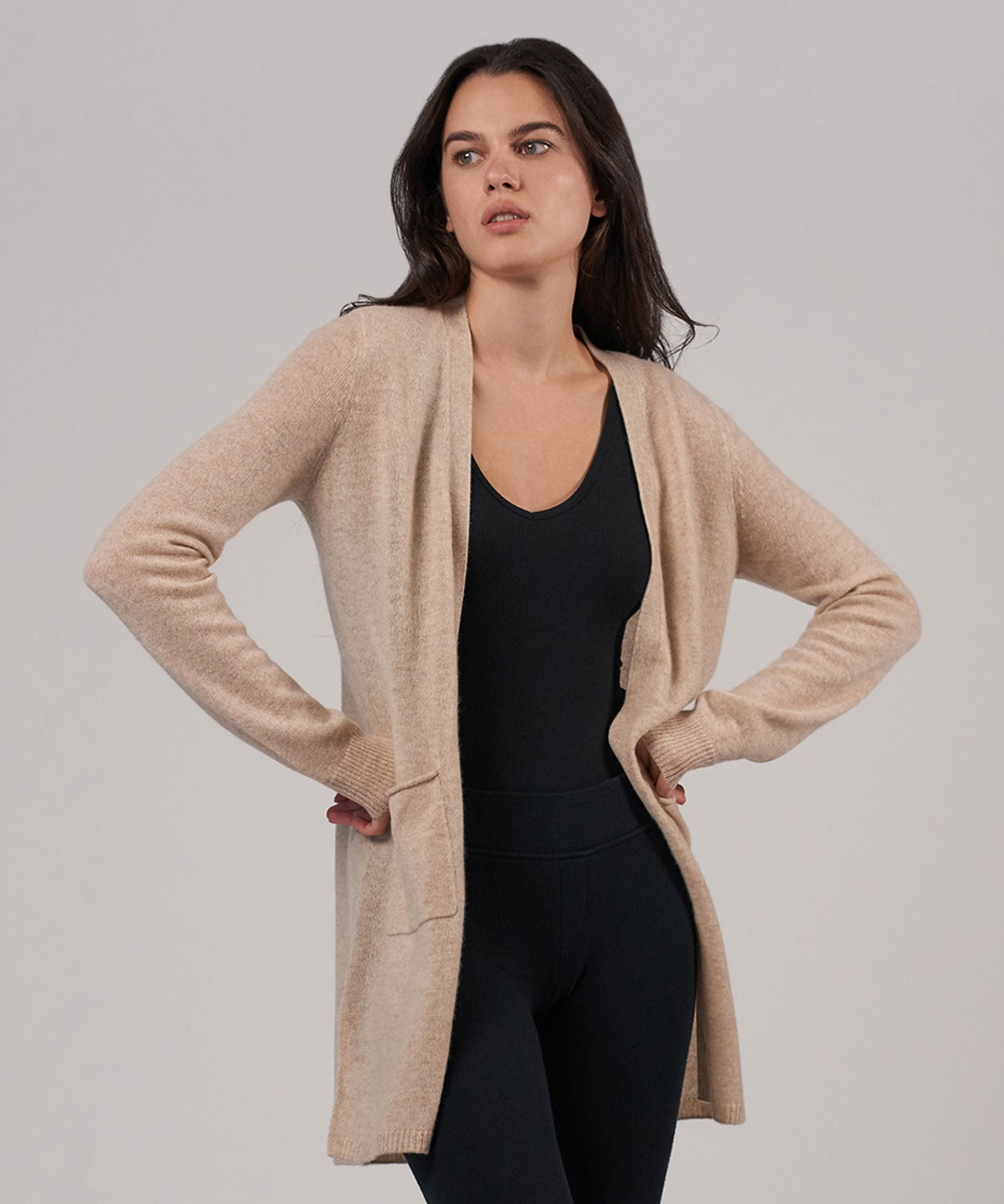 Desert Heather Cashmere Cardigan - Women's Luxe Sweater by ATM Anthony Thomas Melillo