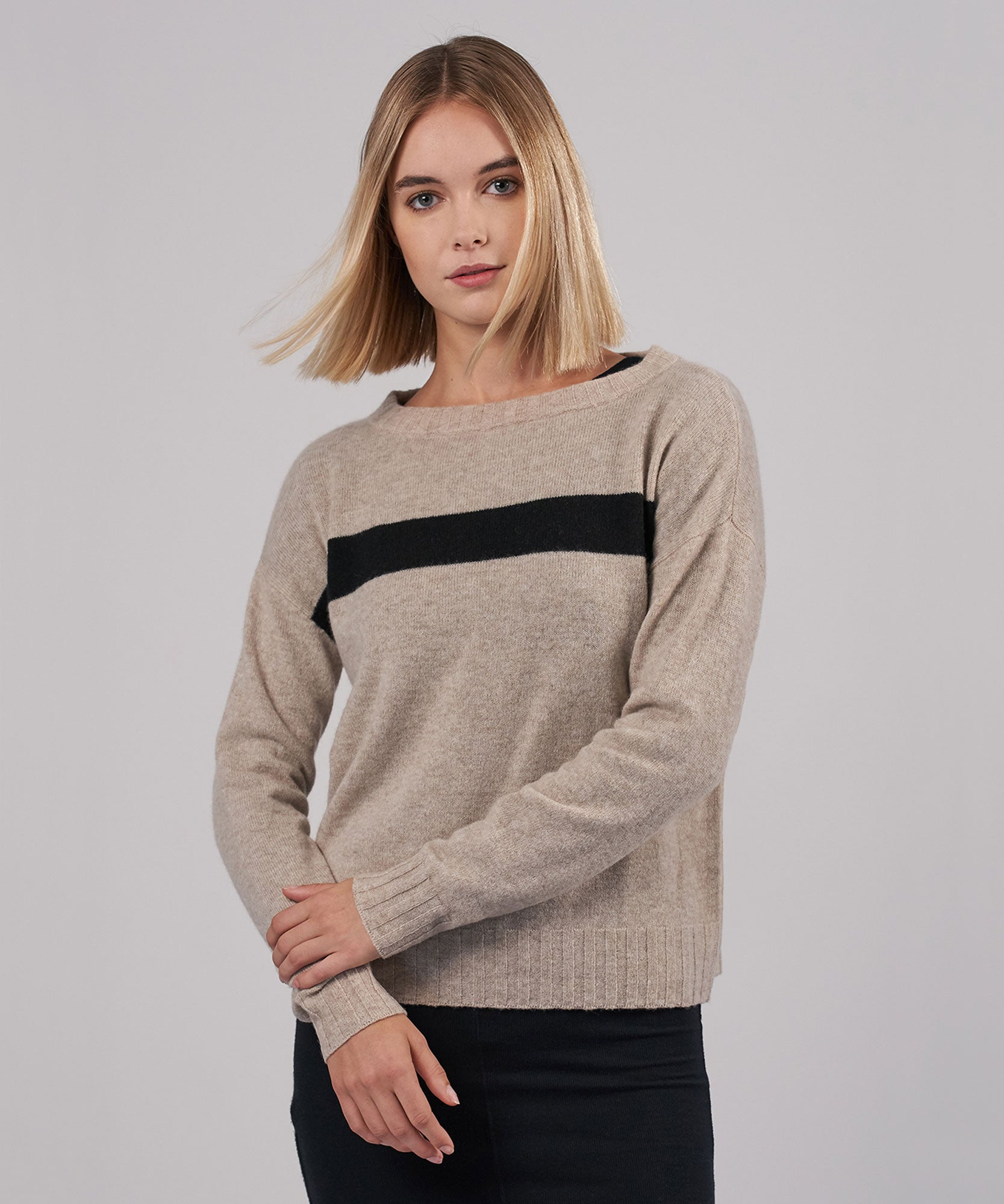 Desert Heather Combo Cashmere Blend Stripe Bateaux Neck Sweater - Women's Luxe Sweater by ATM Anthony Thomas Melillo