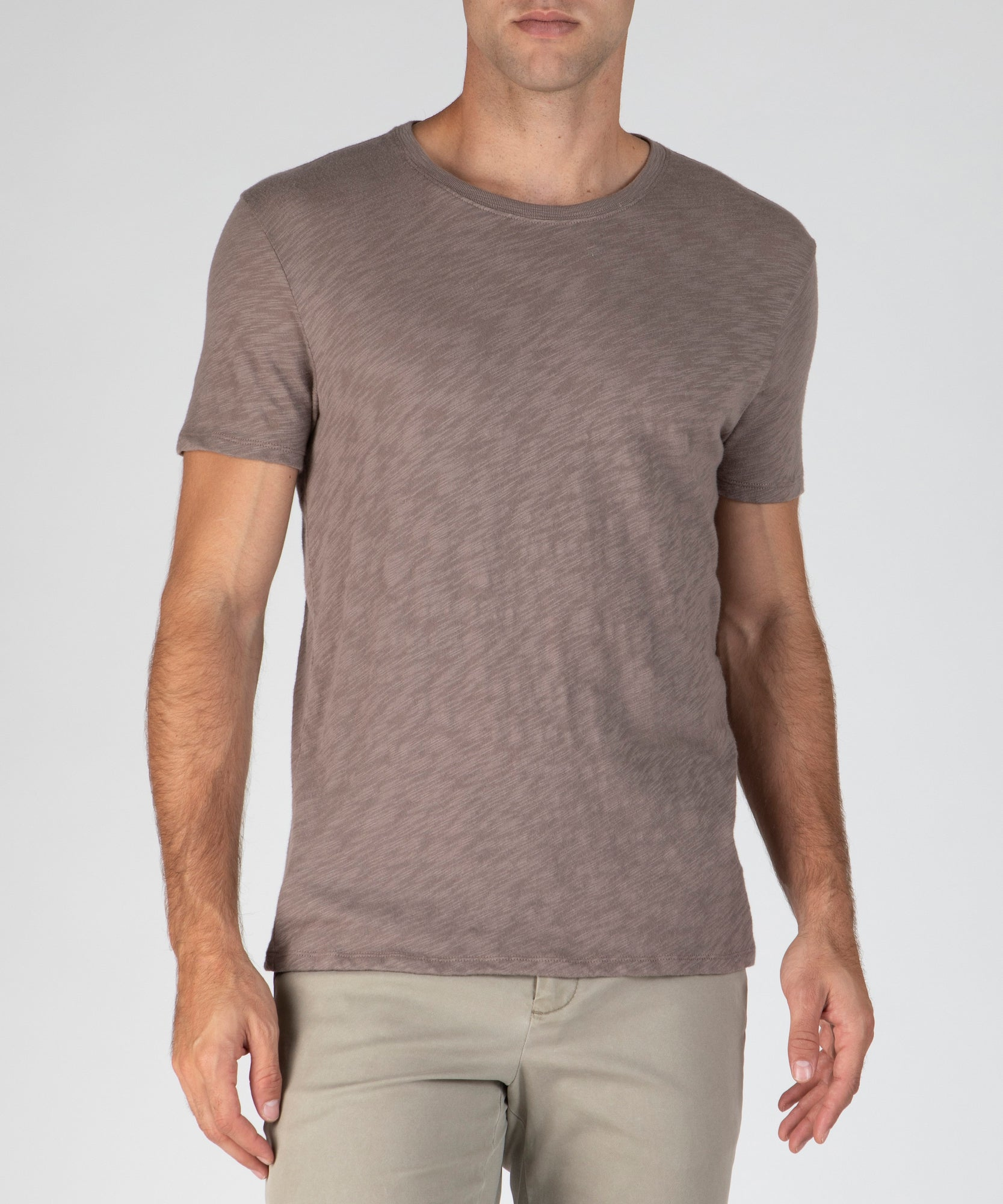 Driftwood Slub Jersey Crew Neck Tee - Men's Cotton Short Sleeve Tee by ATM Anthony Thomas Melillo