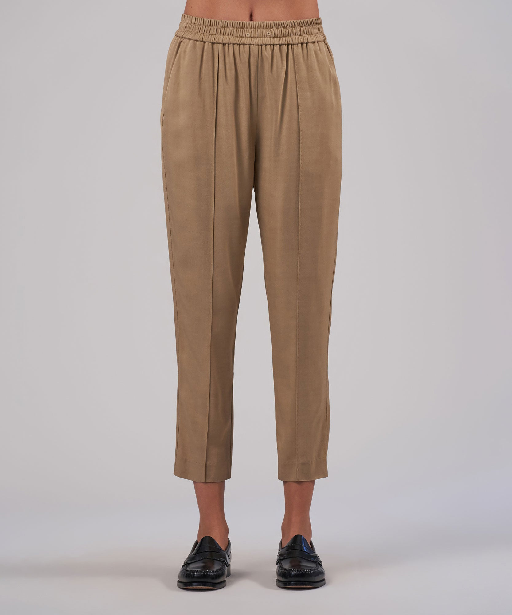 Dune Viscose Twill Cropped Pull-On Pants - Women's Luxe Loungewear by ATM Anthony Thomas Melillo