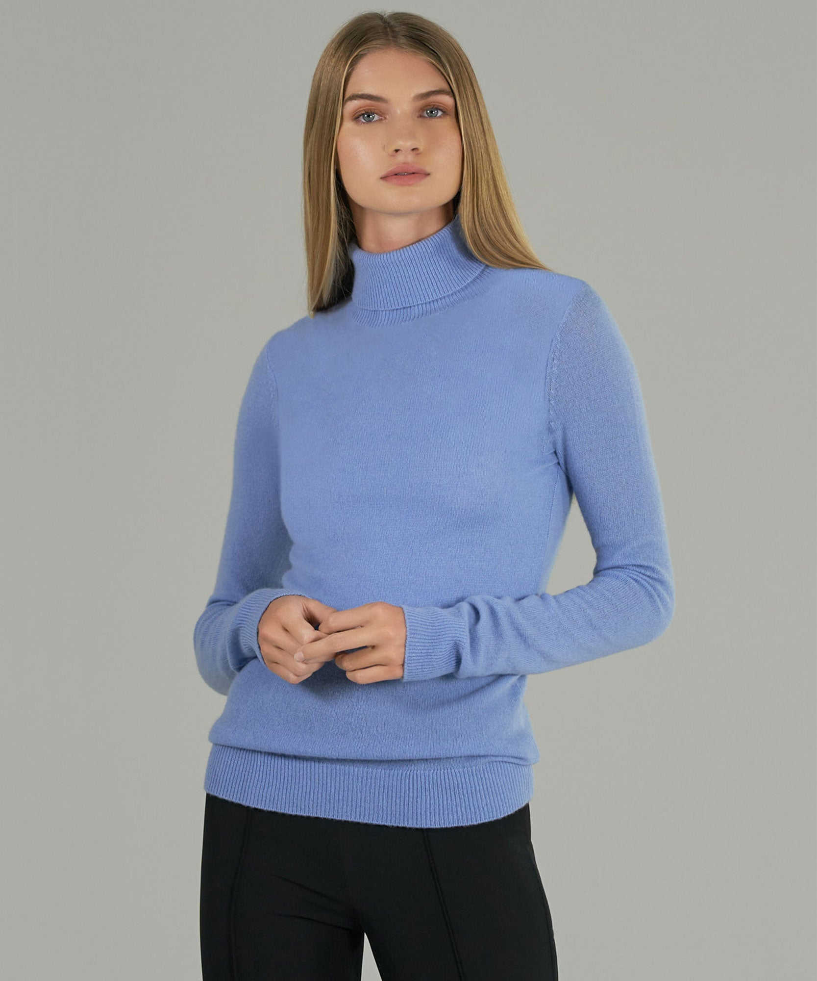 English Blue Cashmere Long Sleeve Turtleneck Sweater - Women's Sweater by ATM Anthony Thomas Melillo