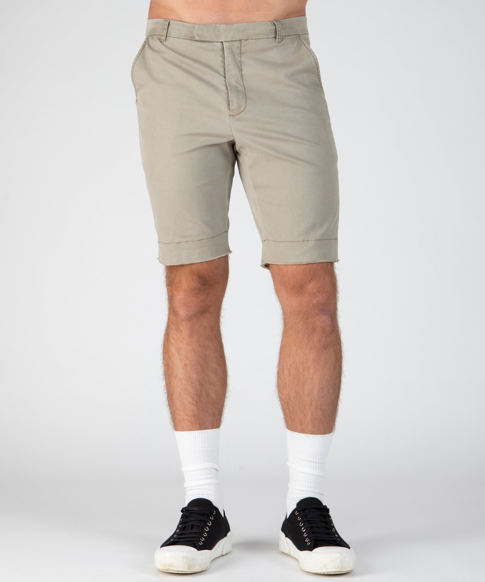 Faded Sage Stretch Cotton Garment Wash Shorts - Men's Luxe Shorts by ATM Anthony Thomas Melillo