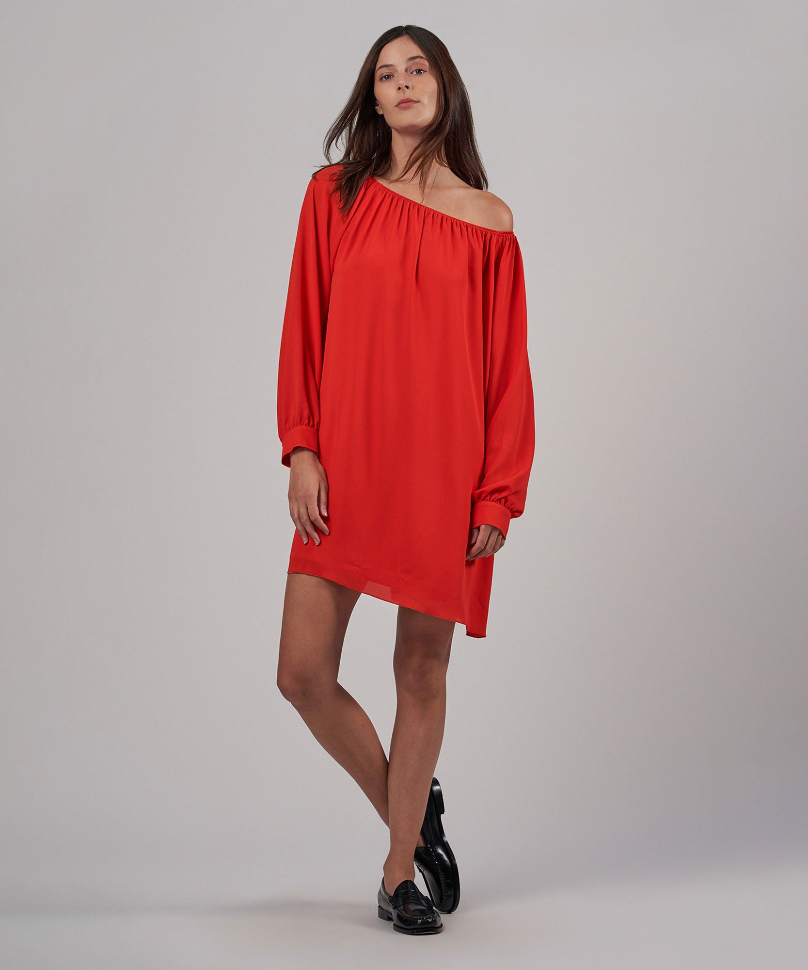 Flame Crepe Georgette Off The Shoulder Dress - Women's Dress by ATM Anthony Thomas Melillo