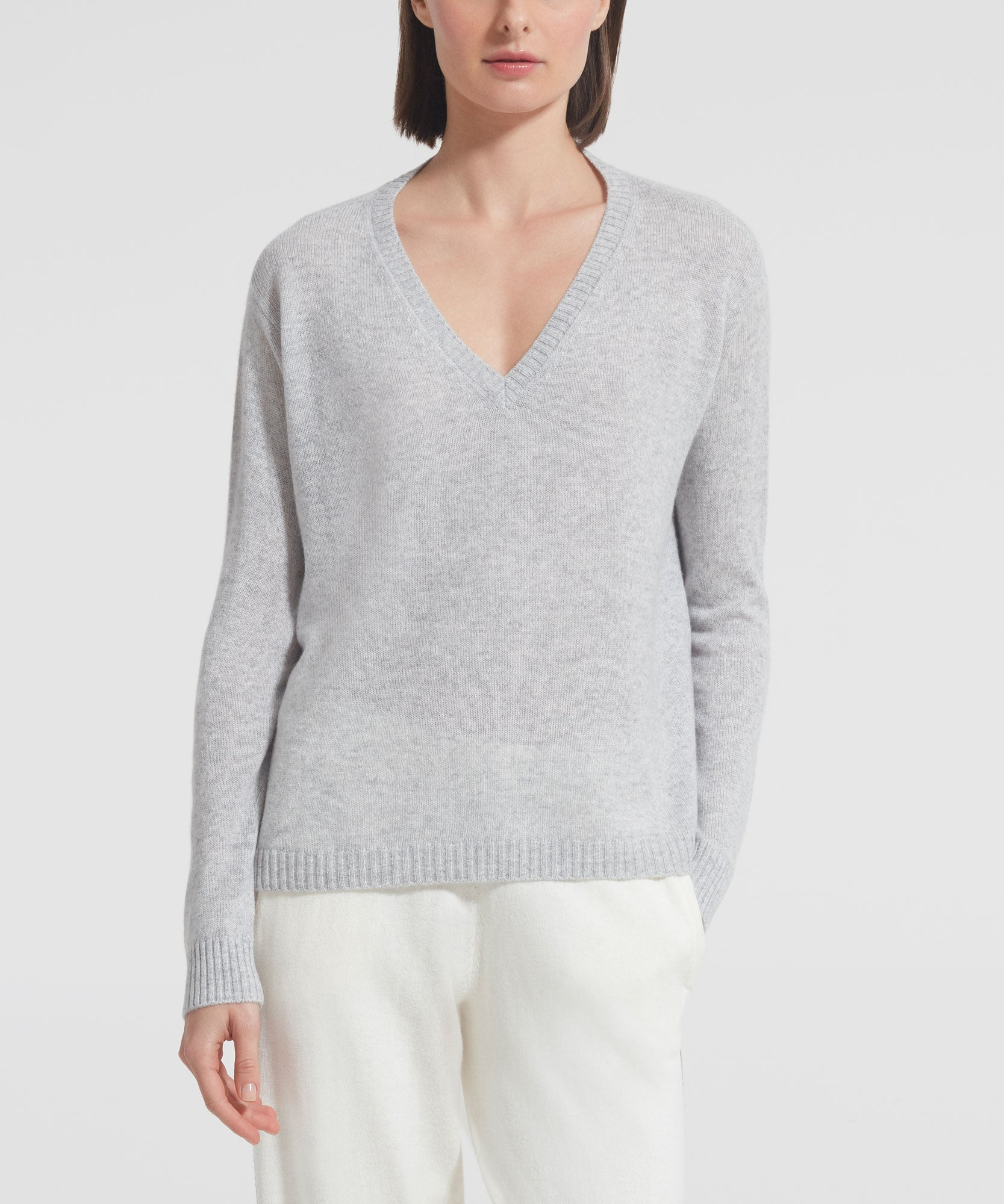 Foggy Cashmere V-Neck Sweater - Women's Luxe Sweater by ATM Anthony Thomas Melillo