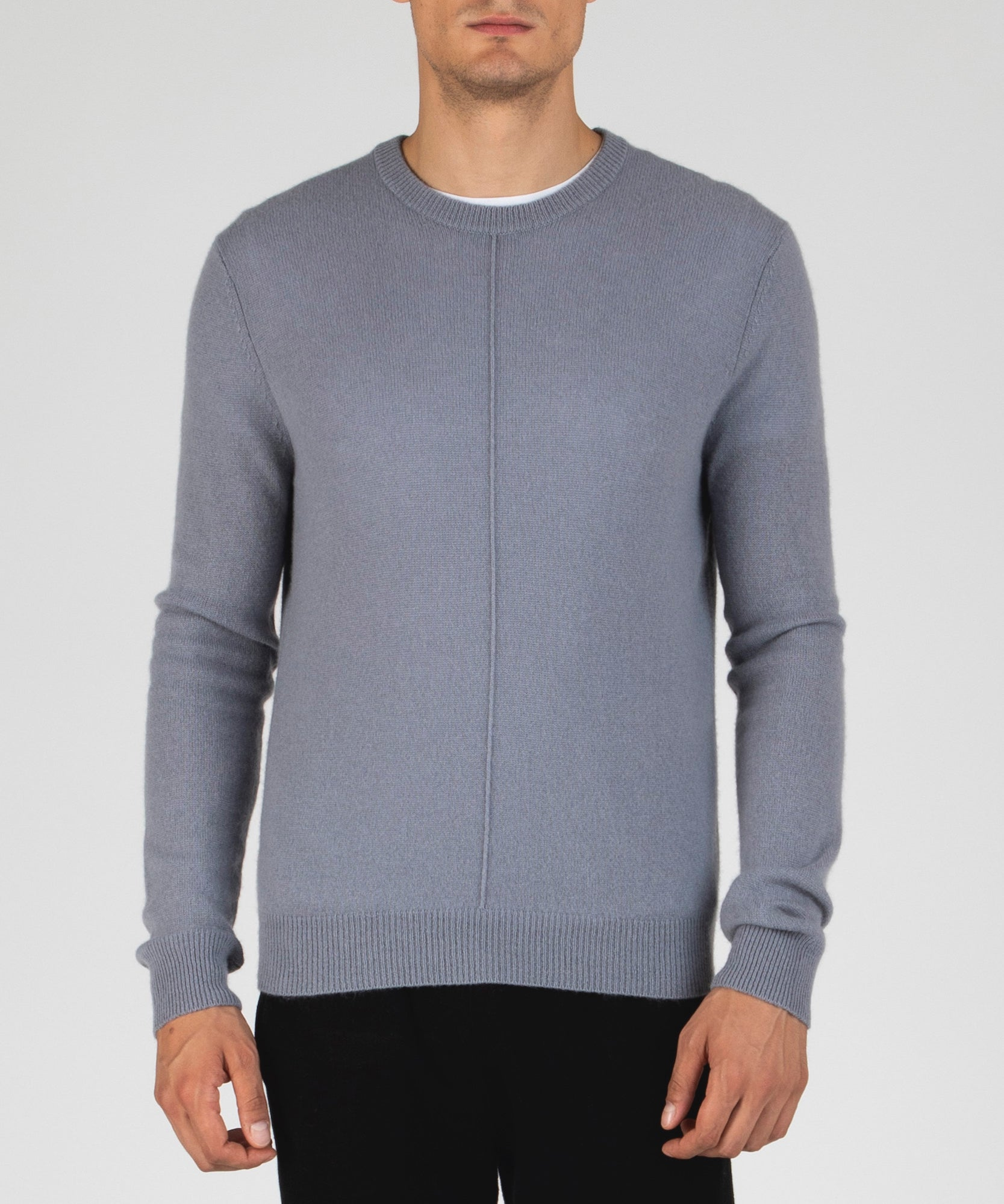 Fossil Cashmere Exposed Seam Crew Neck Sweater - Men's Luxe Cashmere Sweaters by ATM Anthony Thomas Melillo