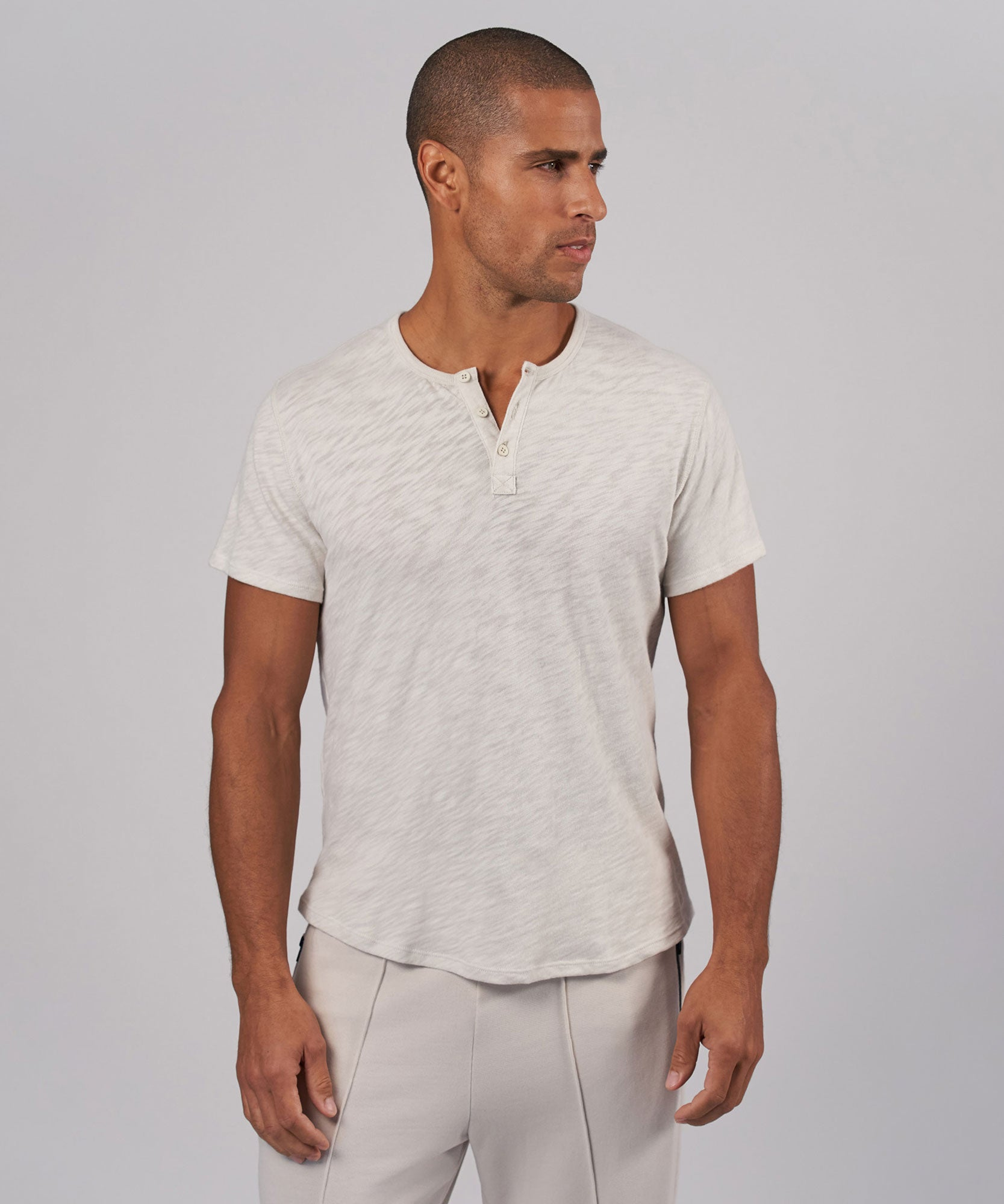 Gesso Combo Slub Jersey Short Sleeve Henley - Men's Short Sleeve T-Shirt by ATM Anthony Thomas Melillo