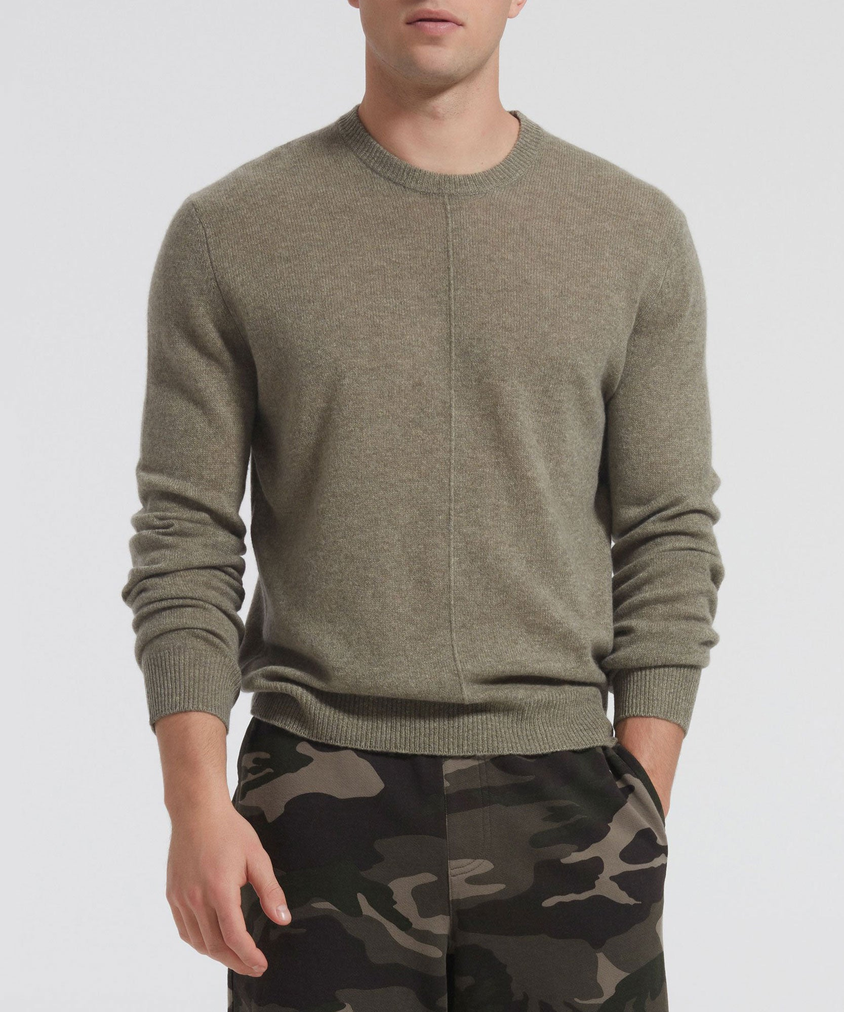 Grass Cashmere Exposed Seam Crew Neck Sweater - Men's Luxe Cashmere Sweaters by ATM Anthony Thomas Melillo