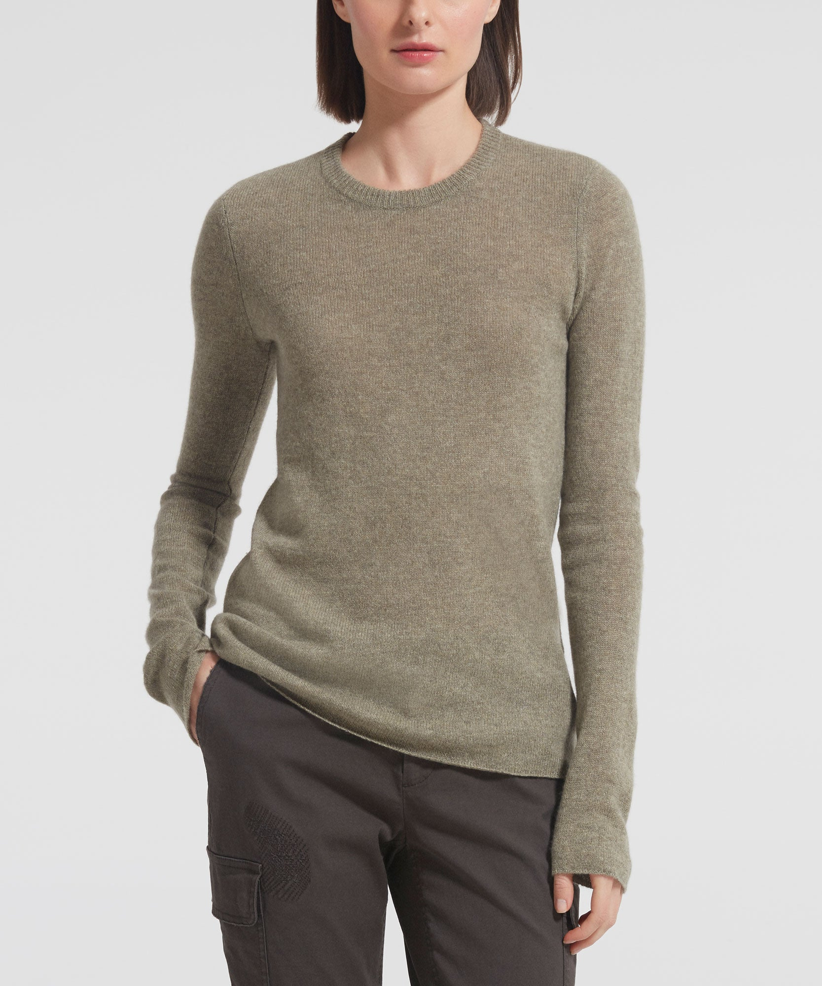 Grass Cashmere Crew Neck Sweater - Women's Luxe Sweater by ATM Anthony Thomas Melillo