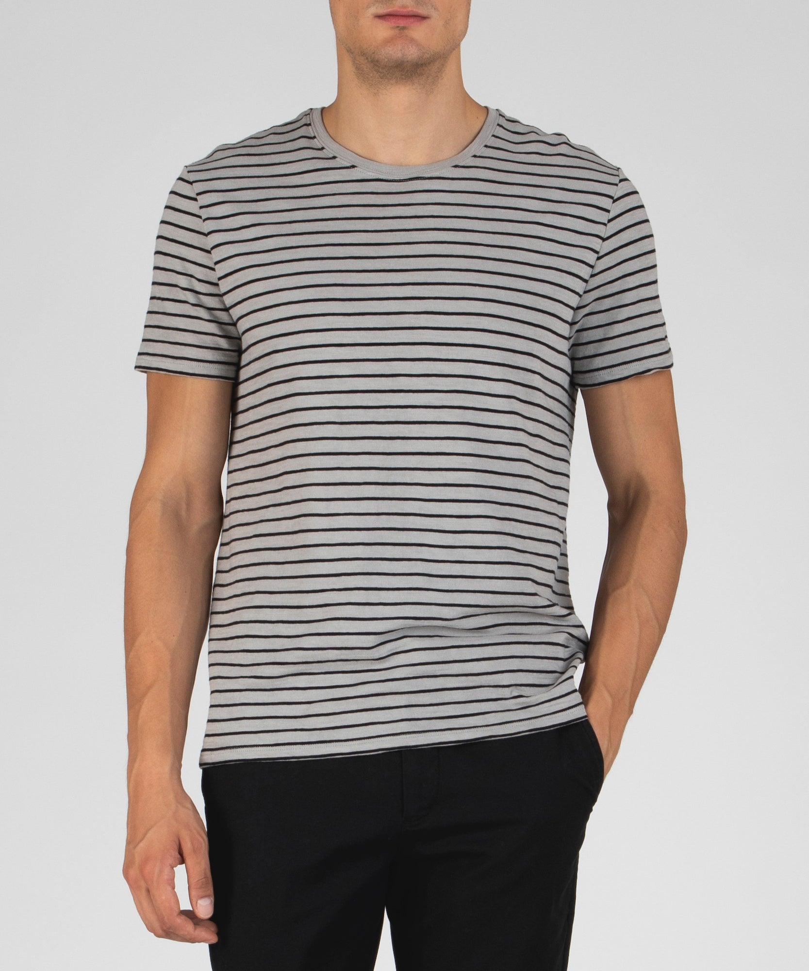 Grey and Black Striped Jersey Crew Neck Tee - Men's Cotton Short Sleeve Tee by ATM Anthony Thomas Melillo
